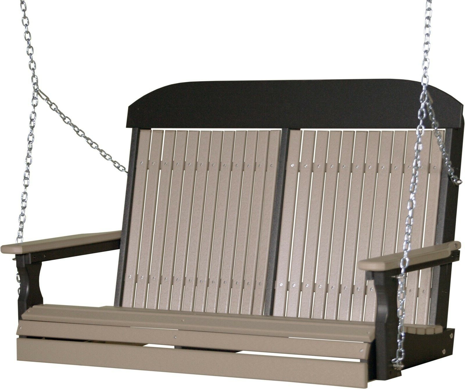 Vineyard 2 Person Black Recycled Plastic Outdoor Swings Pertaining To Well Known 4 Ft Highback Porch Swing *weatherwood & Black* Poly Lumber  Recycled  Plastic (Gallery 22 of 30)