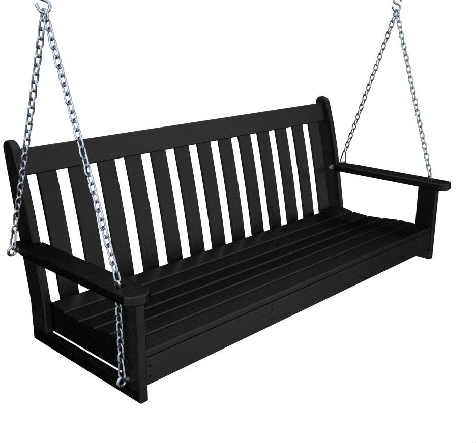Featured Photo of Vineyard 2 Person Black Recycled Plastic Outdoor Swings