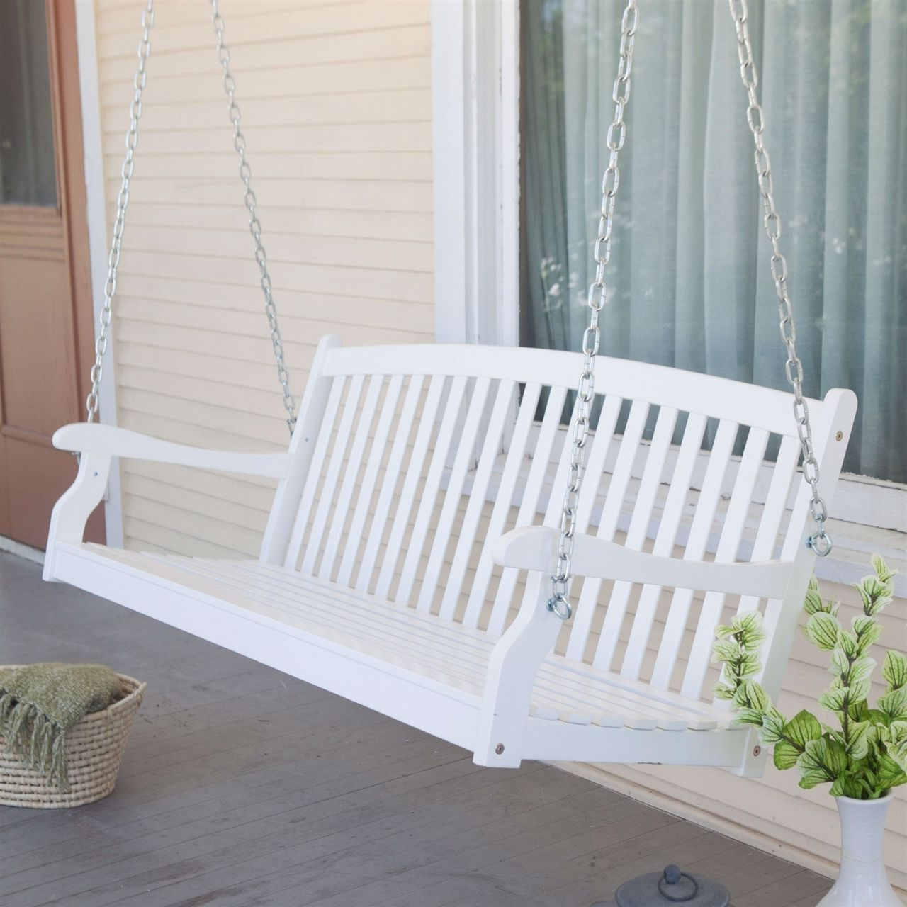 Vineyard Porch Swings Regarding Recent Curved Back 5 Ft Porch Swing, White Wood Finish, Comfort (View 30 of 30)