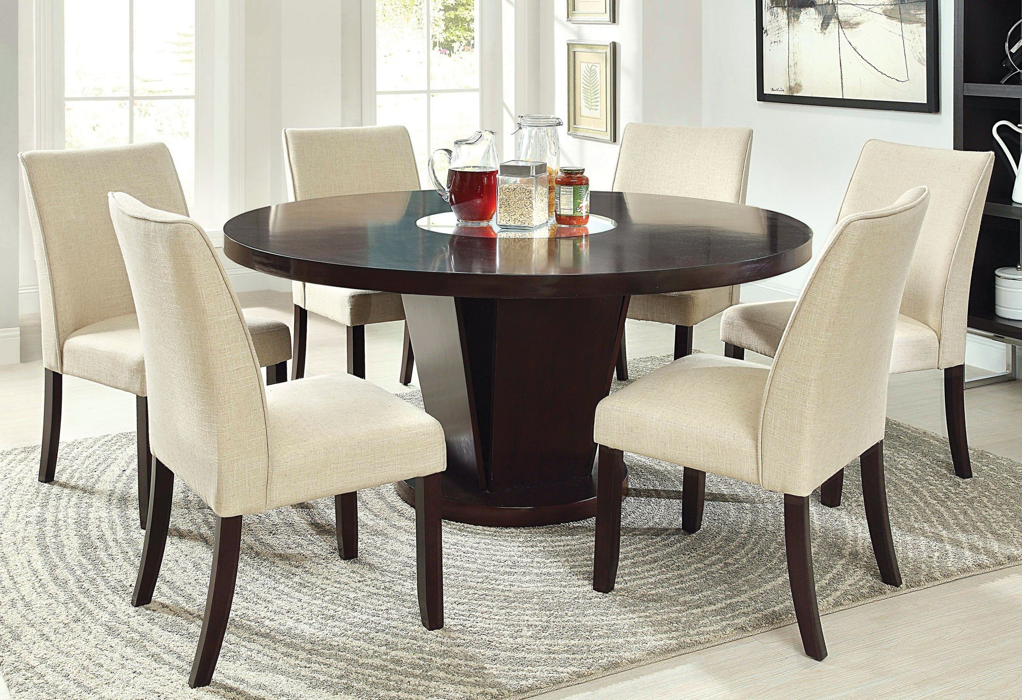 Vintage Cream Frame And Espresso Bamboo Dining Tables With Fashionable 50+ Round Dining Table For 6 You'll Love In 2020 – Visual Hunt (Gallery 27 of 30)