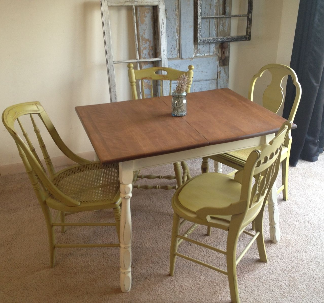 Vintage Cream Frame And Espresso Bamboo Dining Tables With Well Liked Vintage Small Kitchen Table: Like The Cream Painted Legs (View 5 of 30)