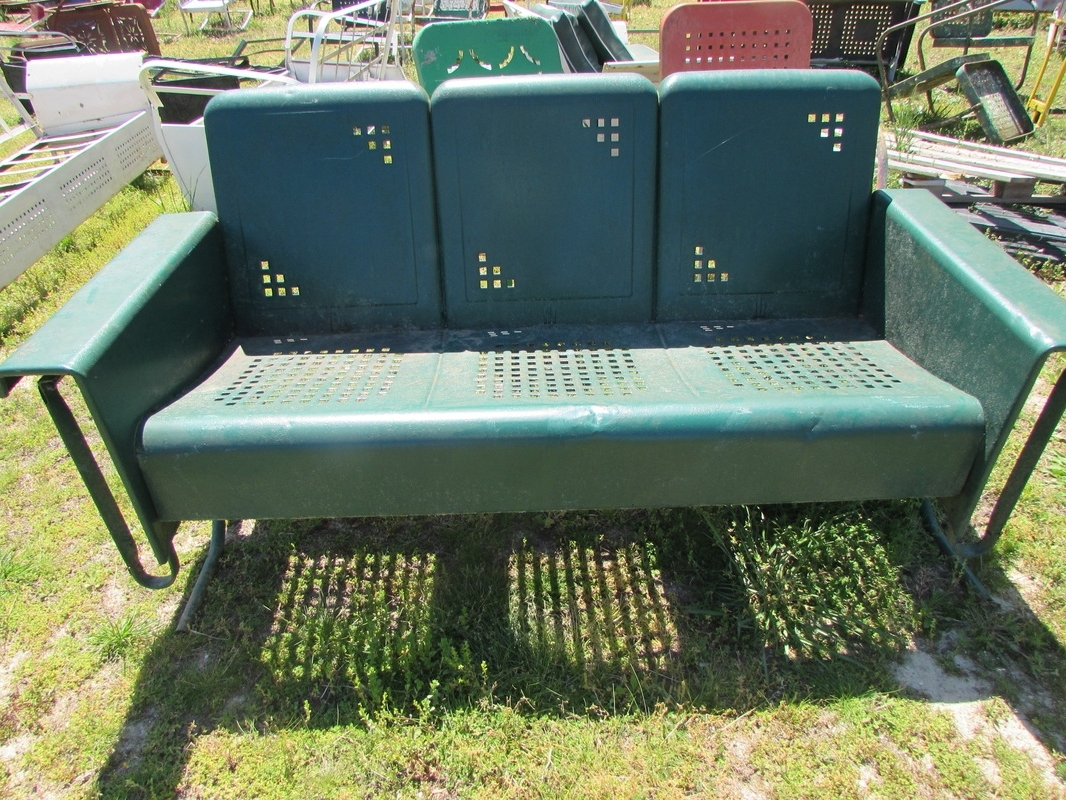 Vintage Metal Porch Glider Cushions — Randolph Indoor And Regarding Well Liked Aluminum Glider Benches With Cushion (View 27 of 30)