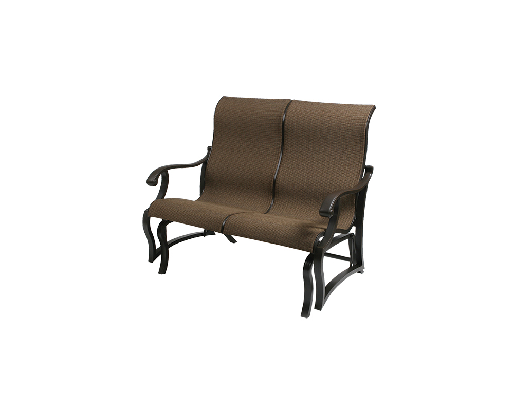 Volare Sling Loveseat Glider – Green Acres Outdoor Living Pertaining To Most Recently Released Outdoor Fabric Glider Benches (View 28 of 30)