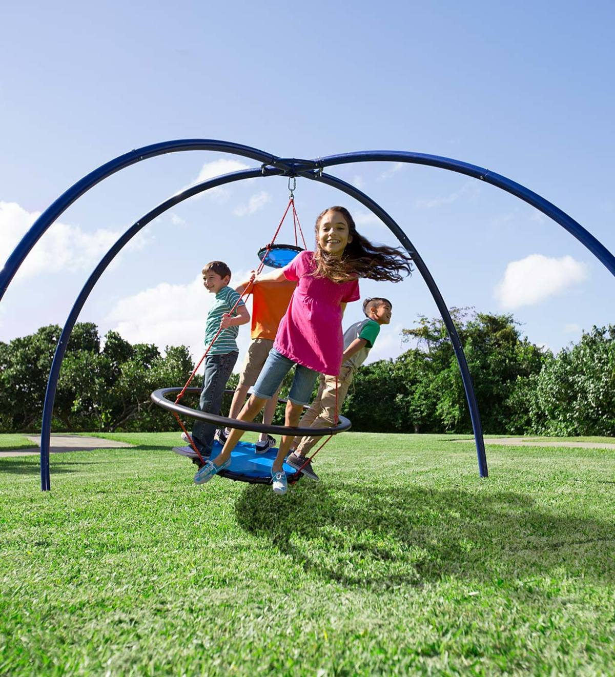 Vortex Spinning Ring Swing And Sky Dome Arched Stand Special Within Favorite Dual Rider Glider Swings With Soft Touch Rope (Gallery 30 of 30)