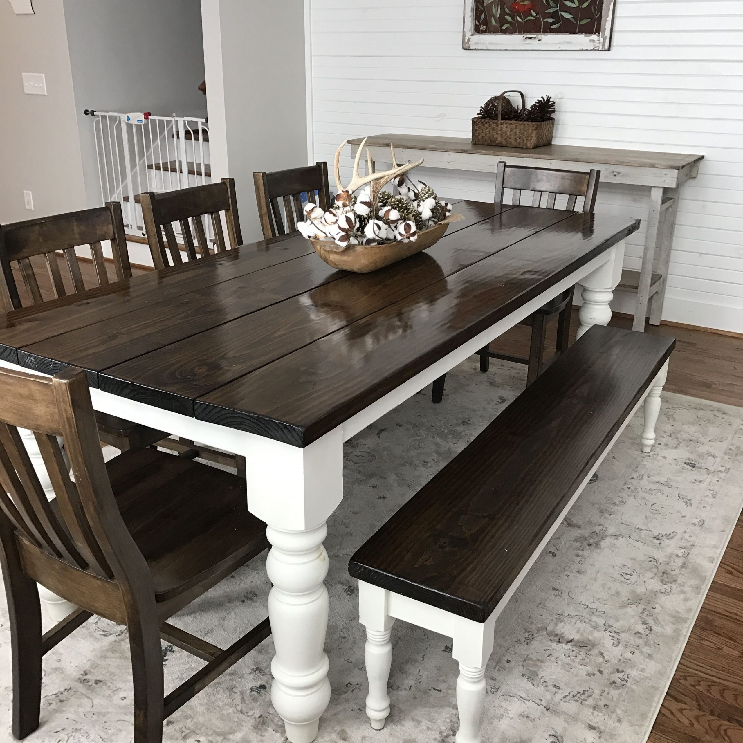 Walnut And Antique White Finish Contemporary Country Dining Tables Intended For Current Custom Built, Solid Wood Modern Farmhouse Dining Furniture (View 22 of 30)