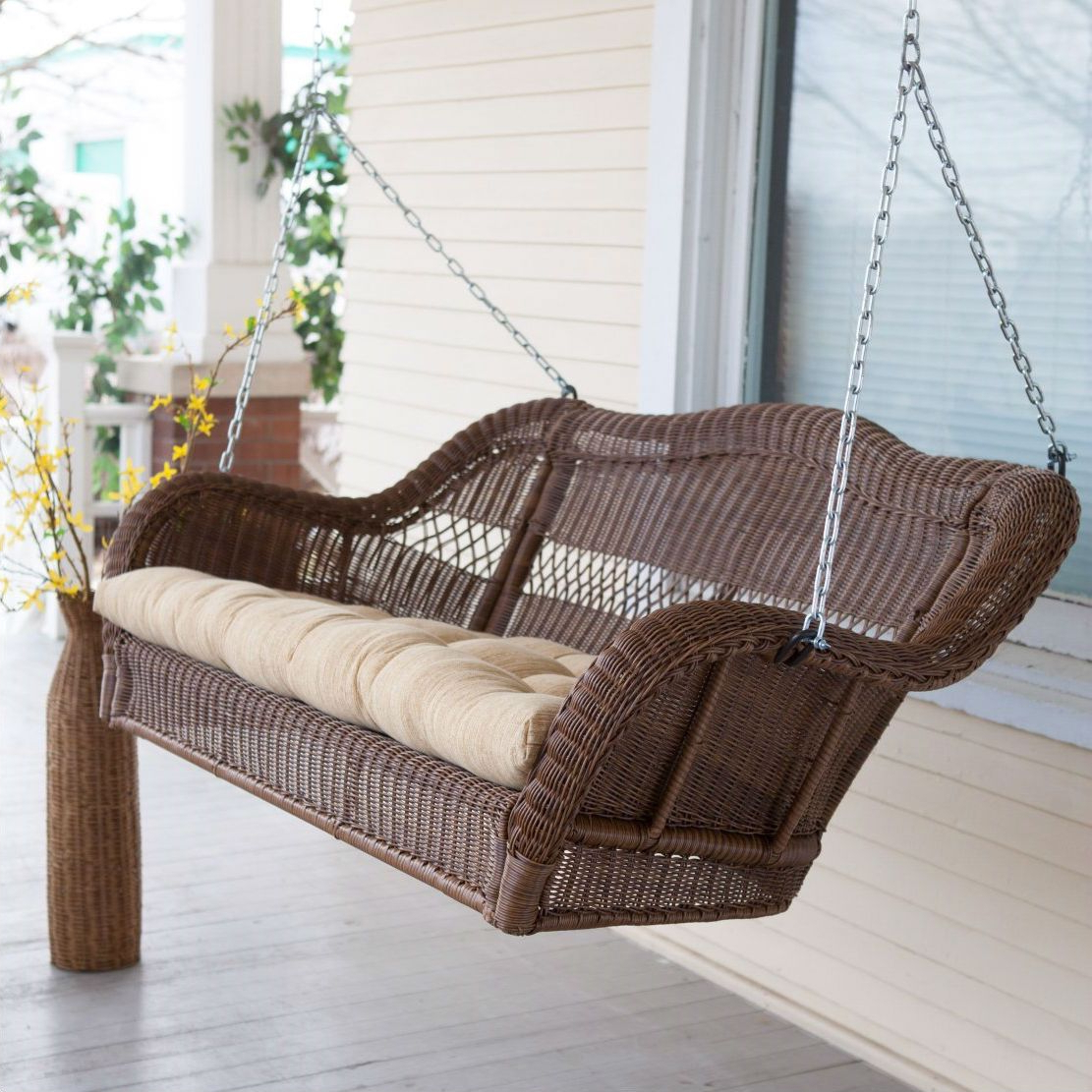 Walnut Brown All Weather Resin Wicker Porch Swing With Intended For Favorite Porch Swings With Chain (View 26 of 30)