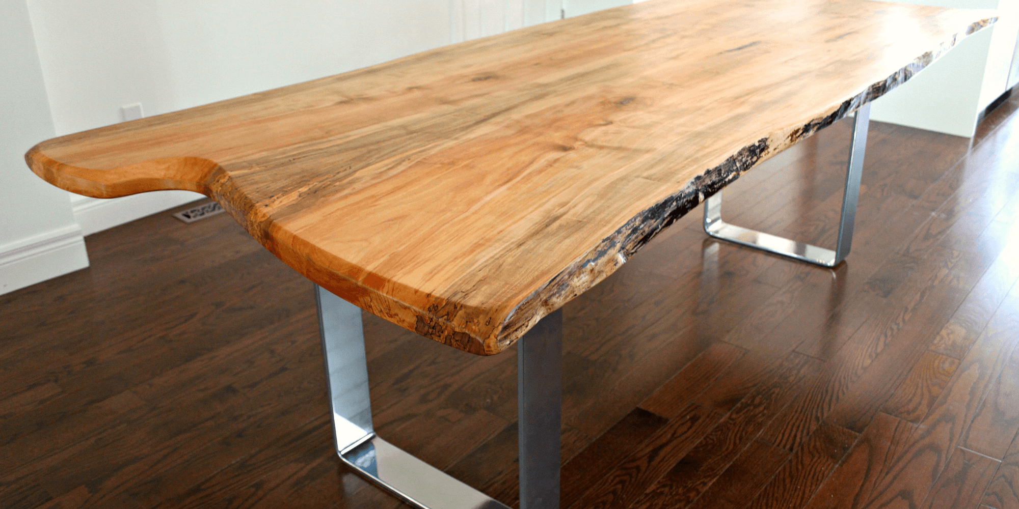 Walnut Finish Live Edge Wood Contemporary Dining Tables For Trendy Home – Living Wood Design Toronto & Muskoka Ontario Canada (View 22 of 30)