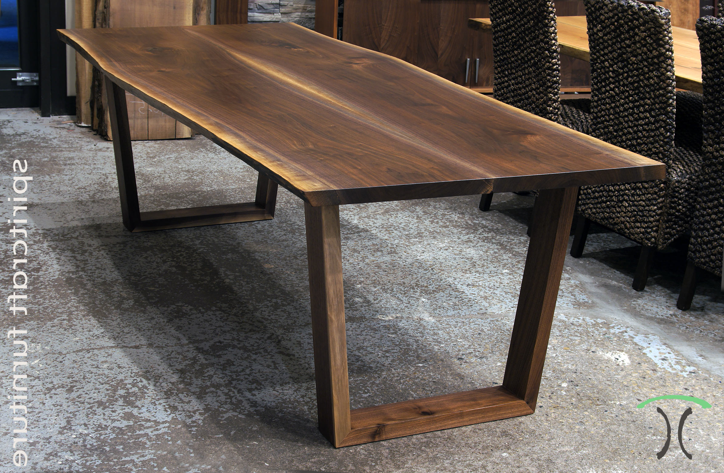 Walnut Finish Live Edge Wood Contemporary Dining Tables In Newest Live Edge Slab Dining Tables, Walnut Slabs And Tops (View 25 of 30)
