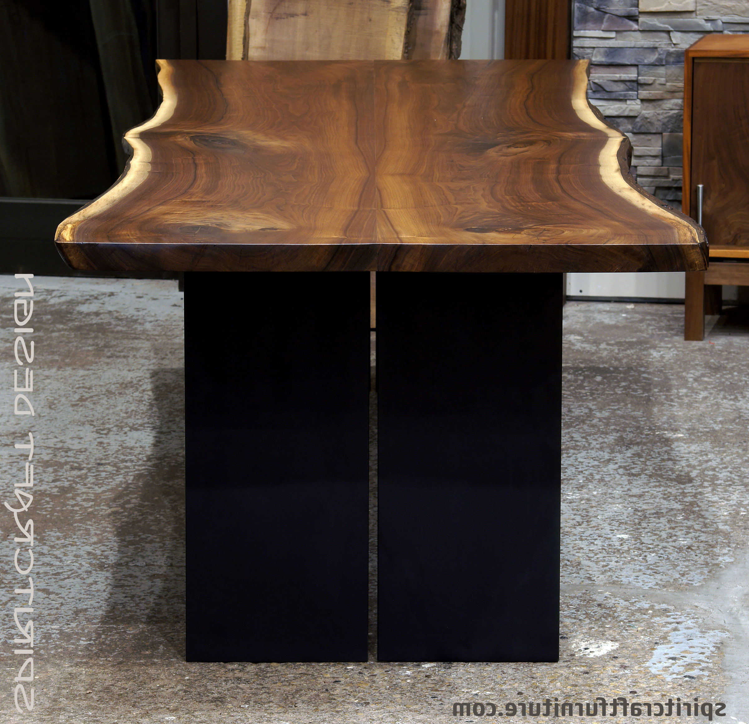Walnut Finish Live Edge Wood Contemporary Dining Tables Intended For Best And Newest Live Edge Slab Dining Tables, Walnut Slabs And Tops (Gallery 11 of 30)