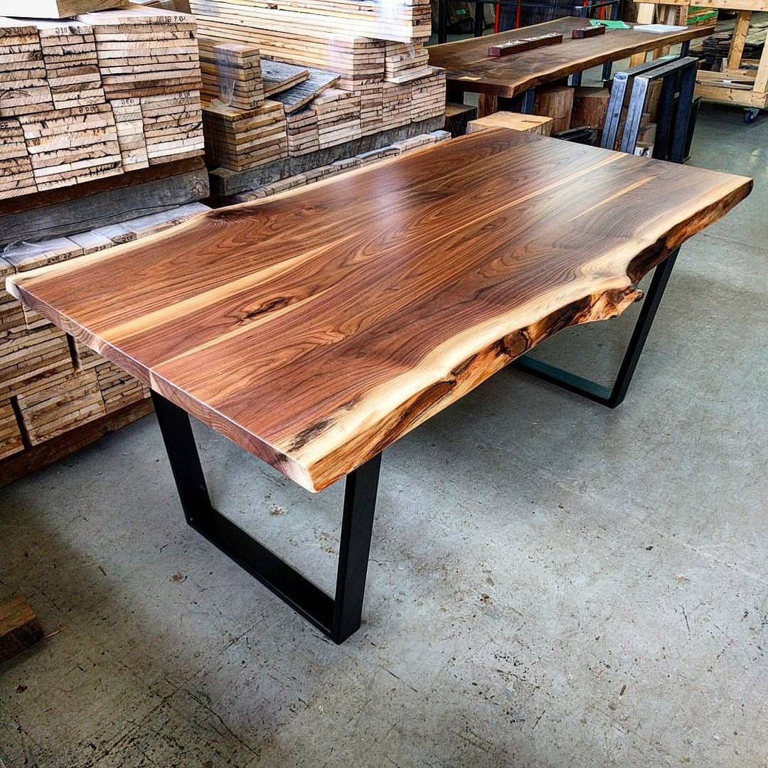 Walnut Finish Live Edge Wood Contemporary Dining Tables Within Best And Newest Black Walnut Live Edge Dining Tablebarnboardstore (View 16 of 30)