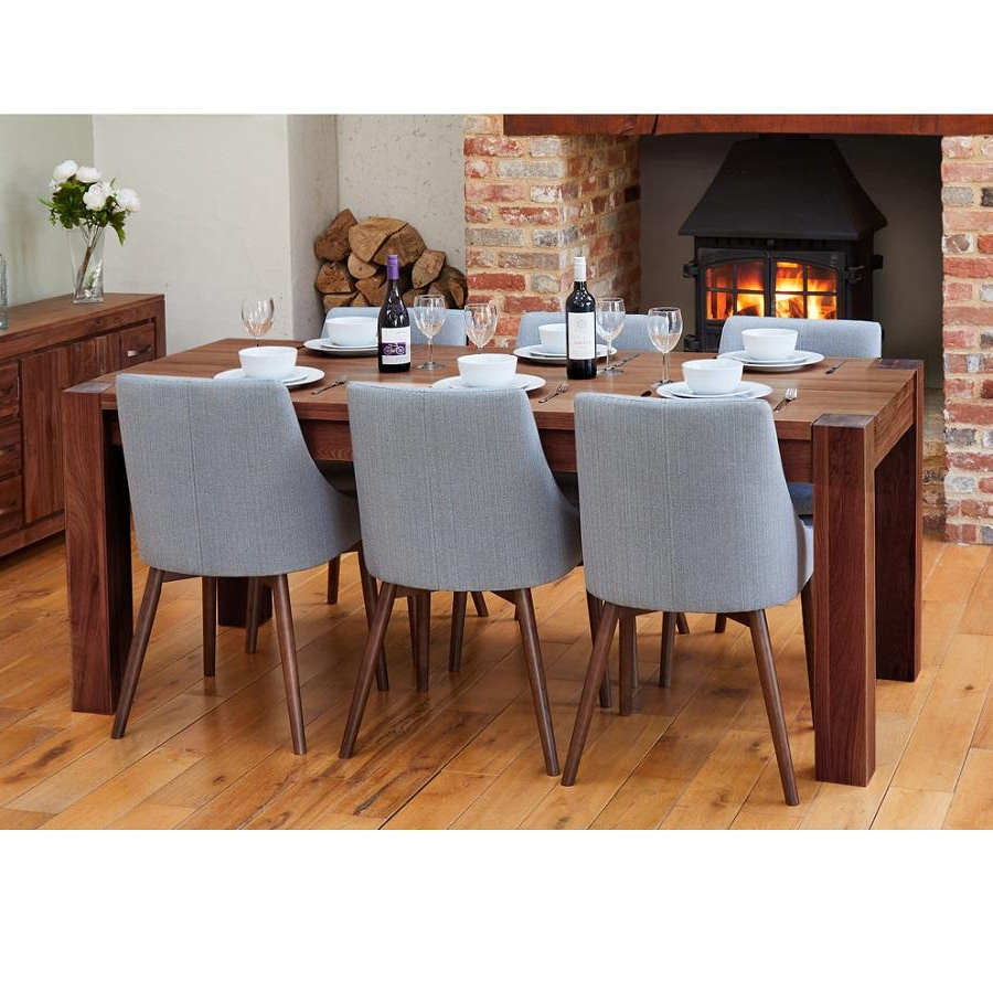 Walnut Medium Dining Table With 6 Grey Walnut Chairs Throughout Most Recent Medium Dining Tables (View 4 of 30)