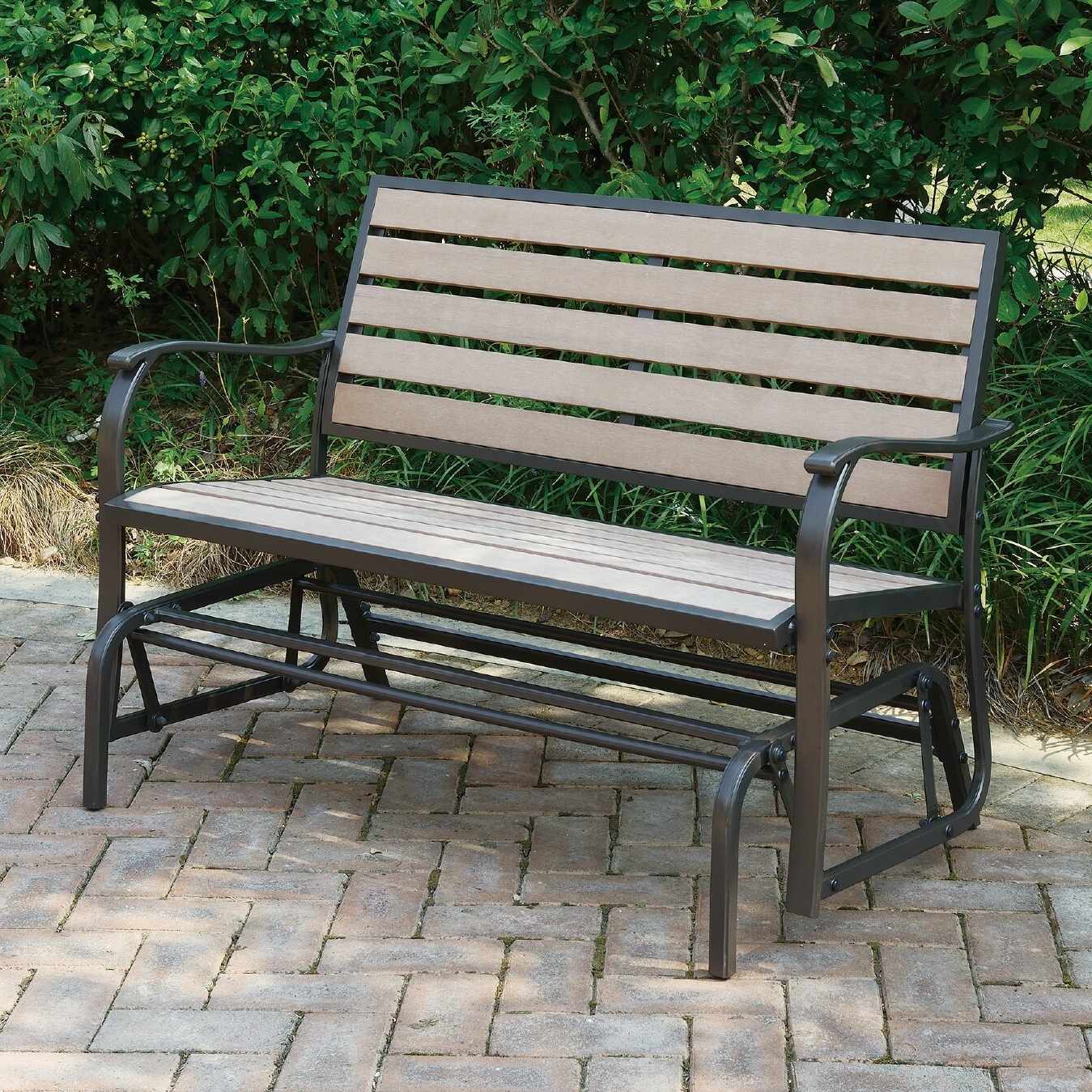Wayzata Outdoor Glider Bench With Most Recently Released Iron Grove Slatted Glider Benches (View 11 of 30)