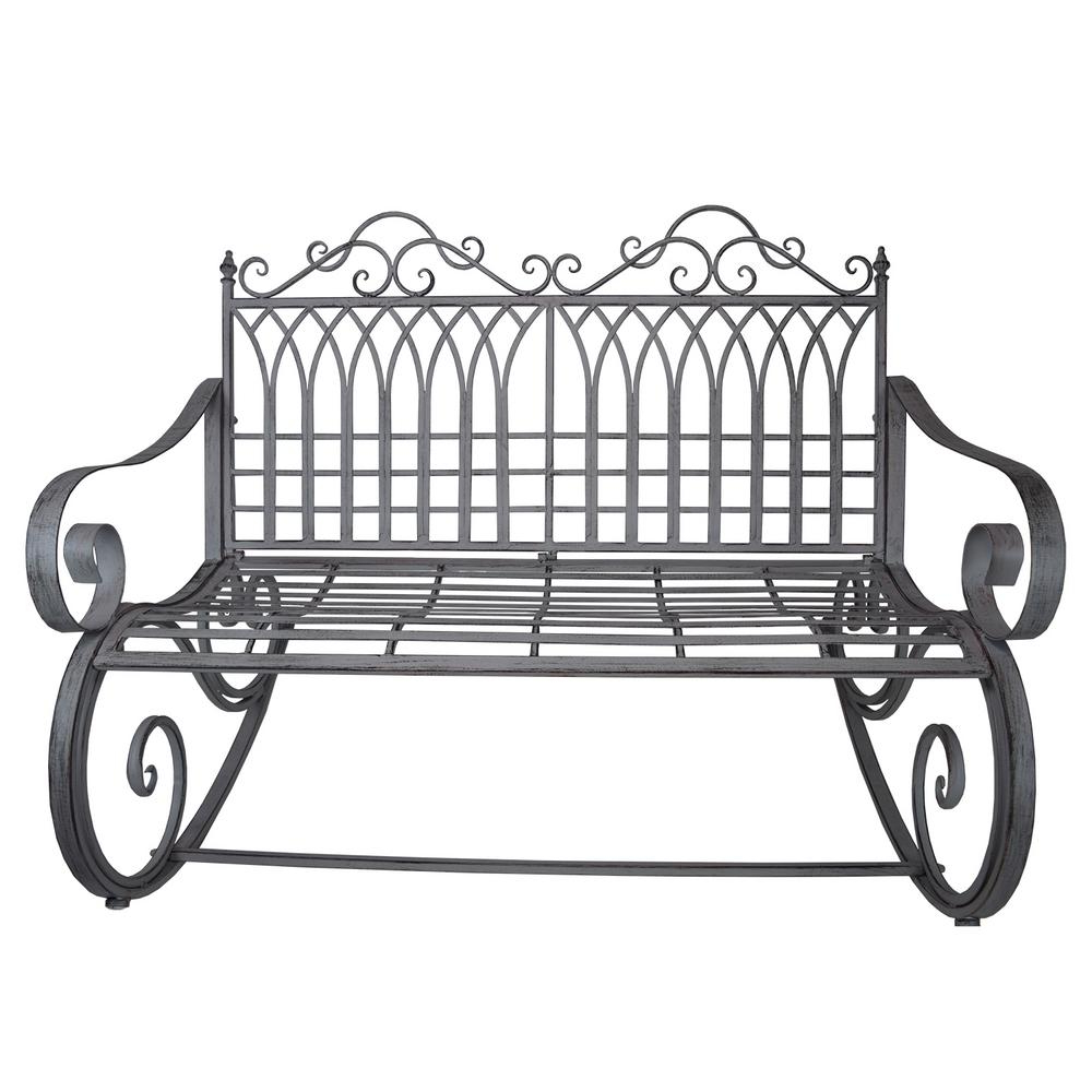 Well Known 1 Person Antique Black Steel Outdoor Gliders In Ornate Traditional Iron And Steel Outdoor Patio Porch Garden Rocking Bench Loveseat In Antique Grey (View 17 of 30)