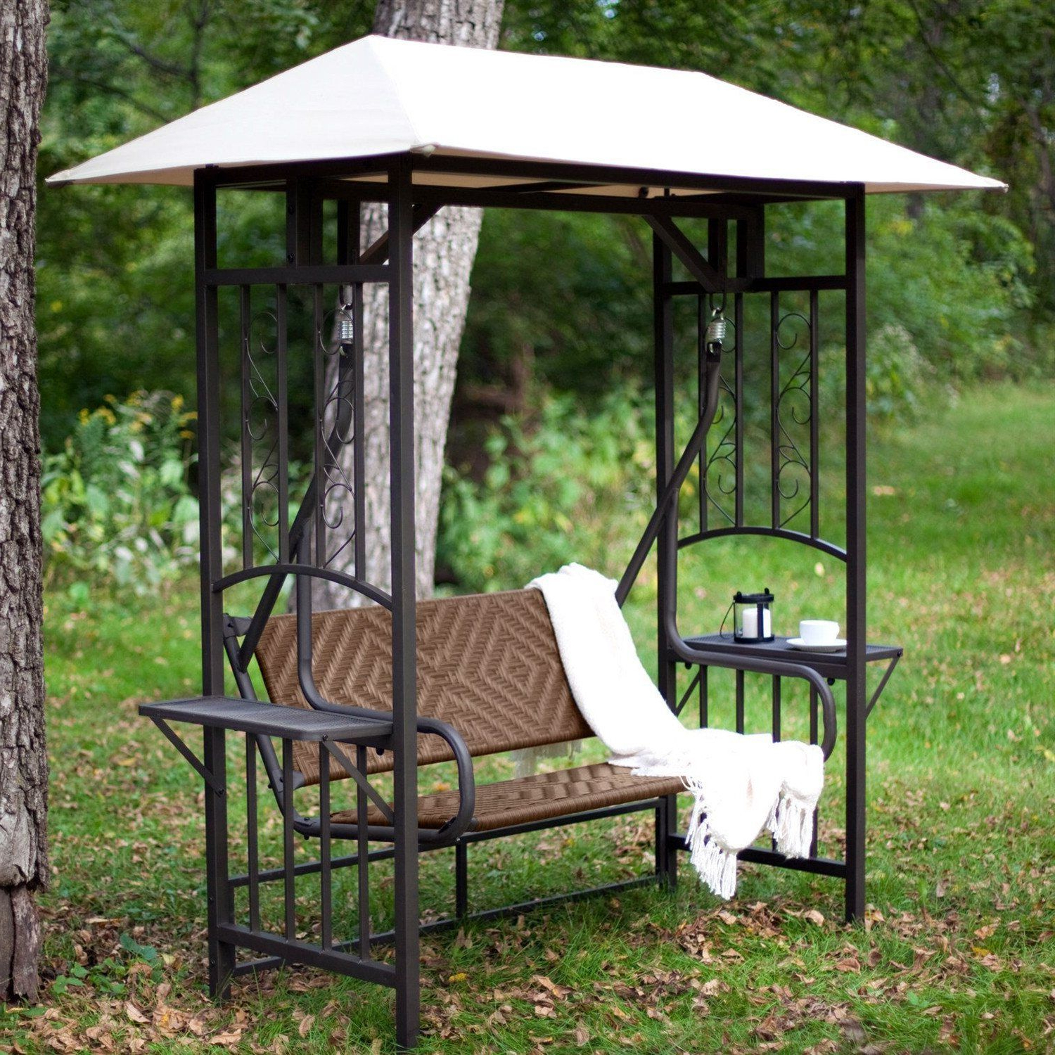 Well Known 2 Person Hammered Bronze Iron Outdoor Swings For 2 Person Natural Brown Resin Wicker Gazebo Canopy Porch (View 8 of 30)