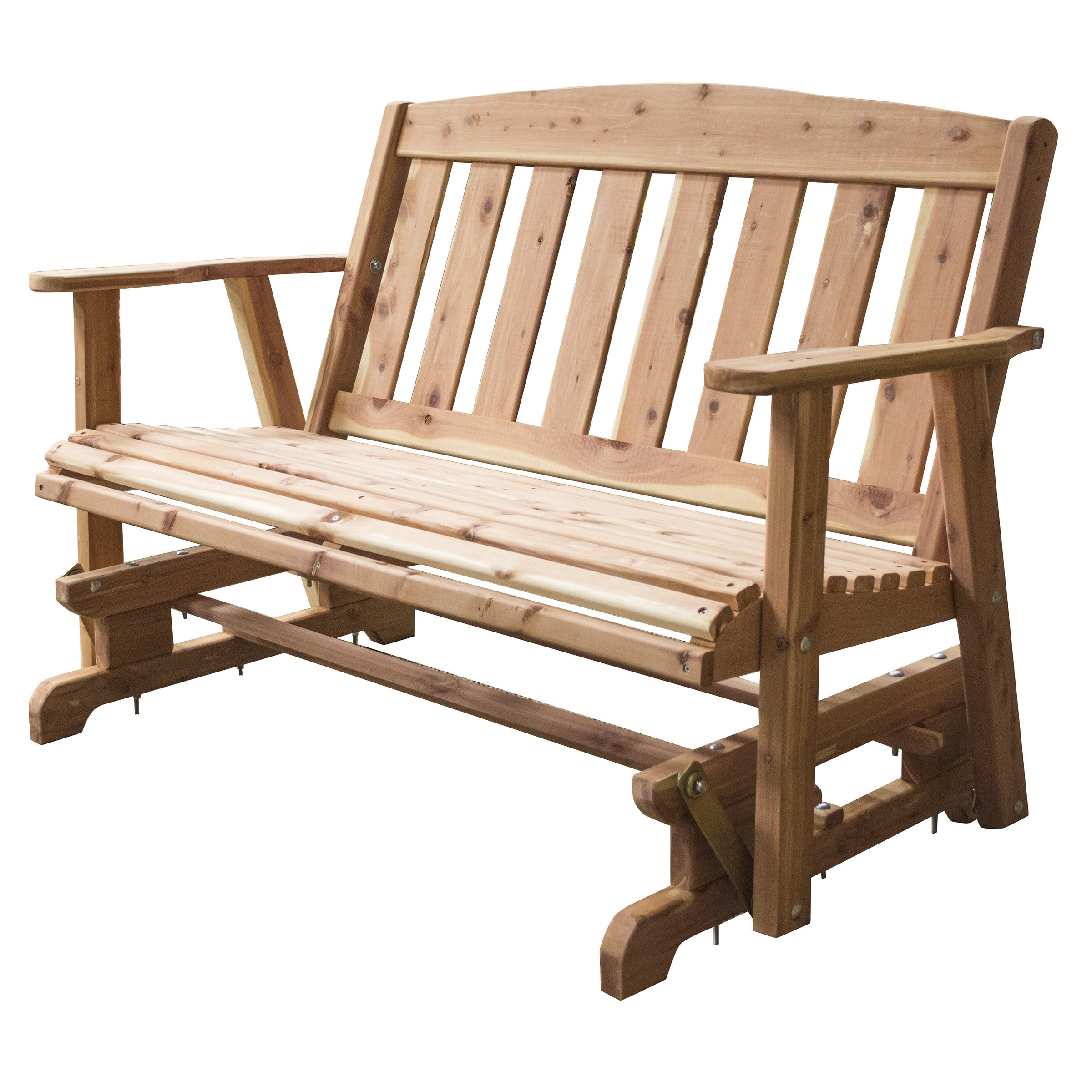 Well Known 2 Person Natural Cedar Wood Outdoor Gliders Inside Amerihome Amish Made Glider Bench – Brown (Gallery 24 of 30)