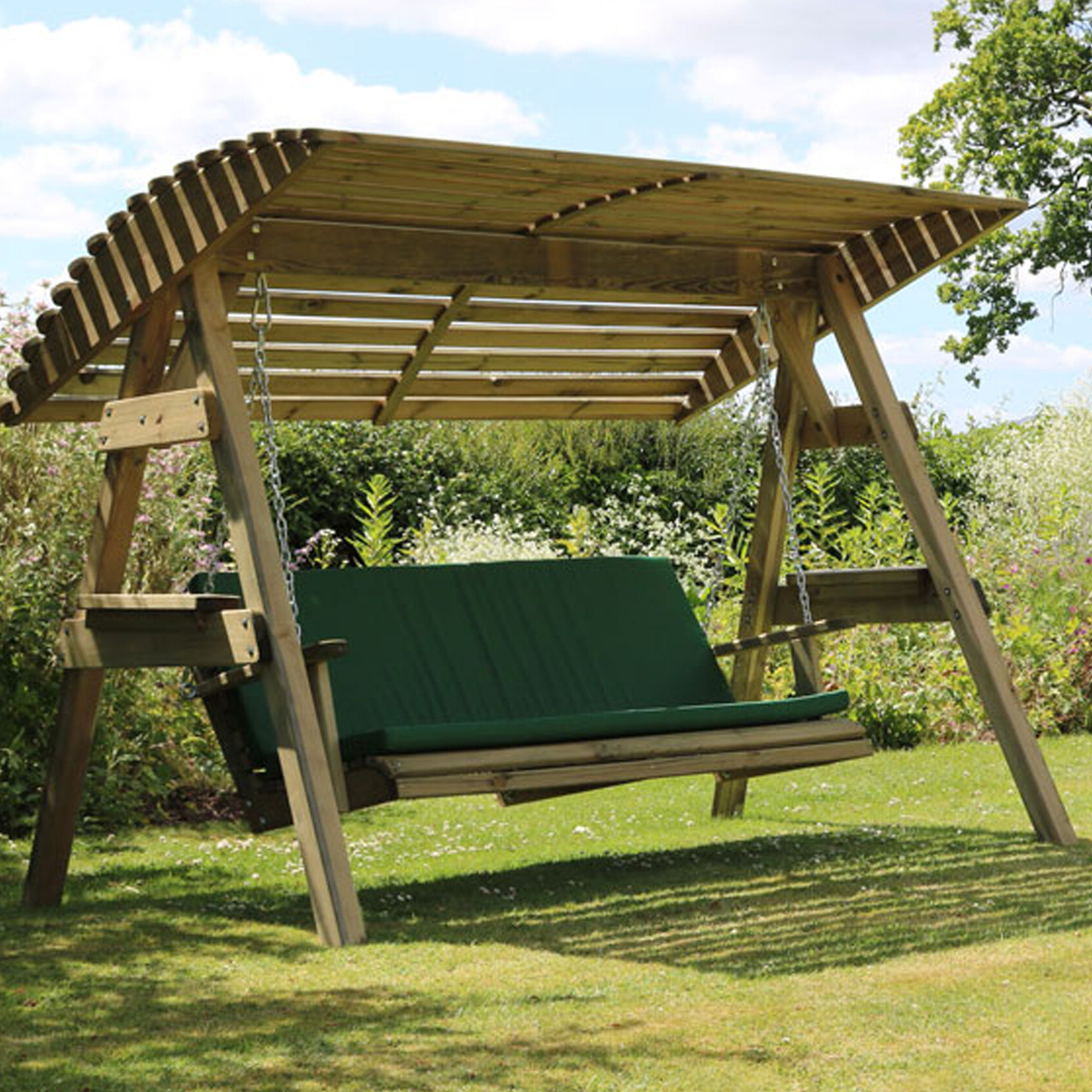 Well Known 3 Person Light Teak Oil Wood Outdoor Swings Throughout Kameron Swing Seat With Stand (View 28 of 30)