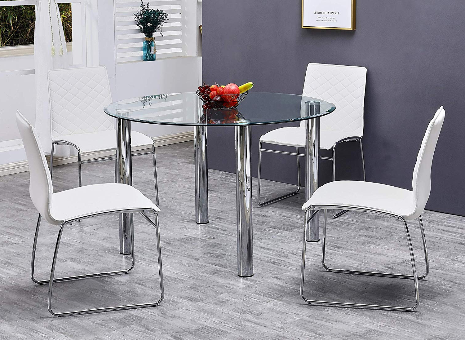 Well Known 4 Seater Round Wooden Dining Tables With Chrome Legs In Amazon – Best Master Furniture Tarina 5 Pcs Round Glass (Gallery 4 of 30)