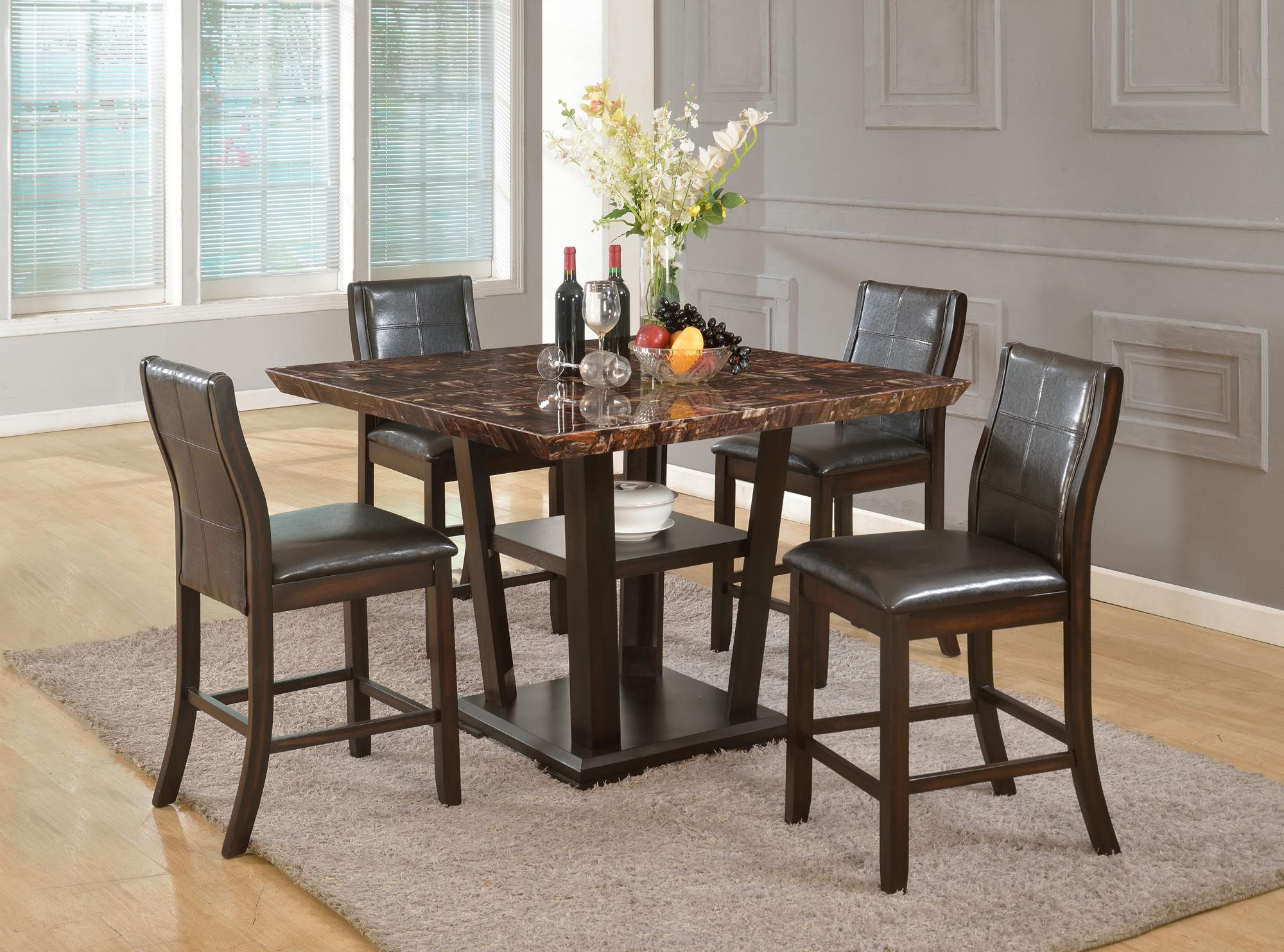Well Known 5 Piece Counter Height Table And 4 Chairs Faux Marble Top In Inside Transitional 4 Seating Square Casual Dining Tables (View 30 of 30)