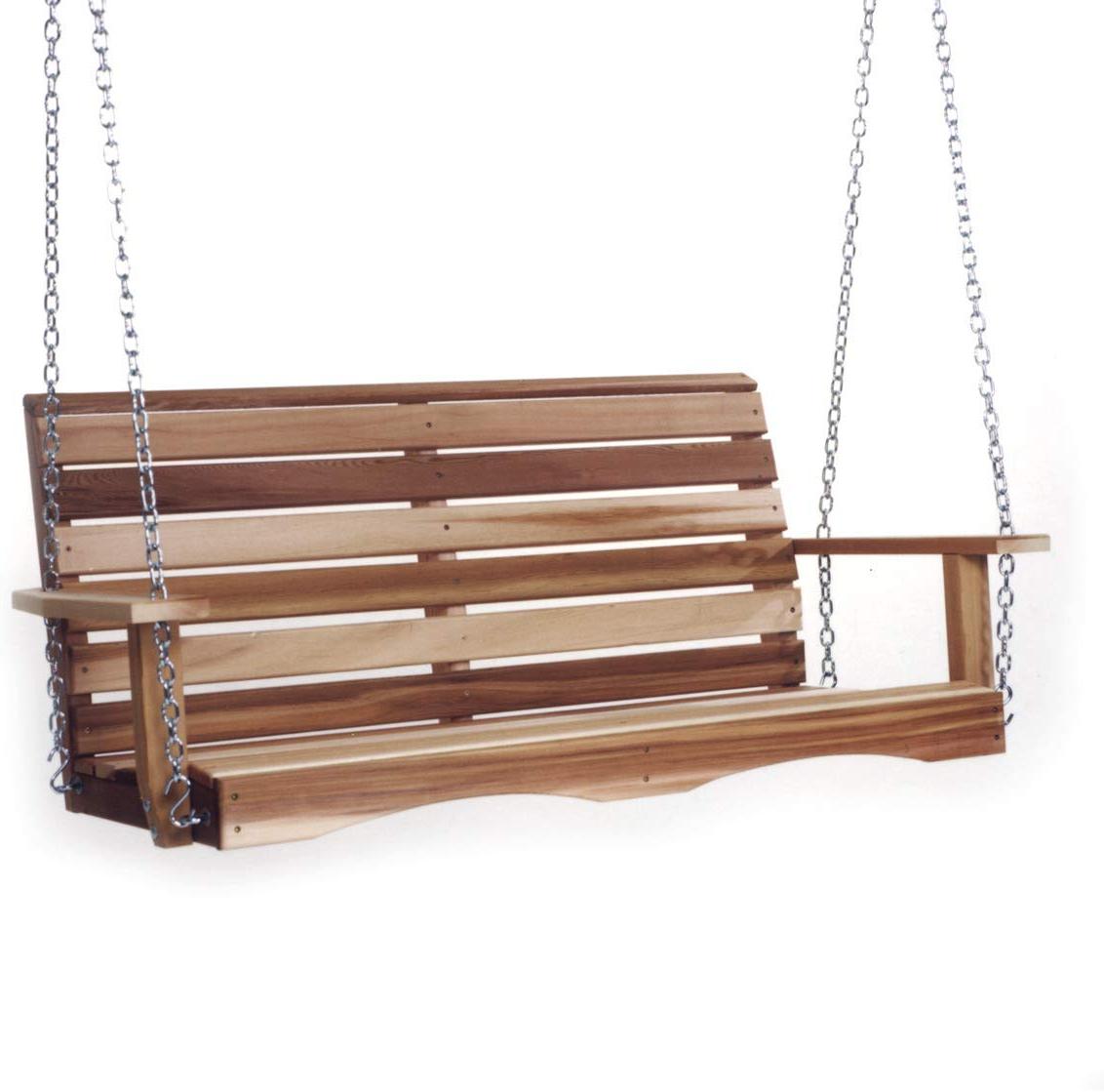 Well Known A4 Ft Cedar Pergola Swings Intended For All Things Cedar Ps48 Sw10 4 Ft Cedar Cedar Garden Swing With Comfort  Springs (View 28 of 30)