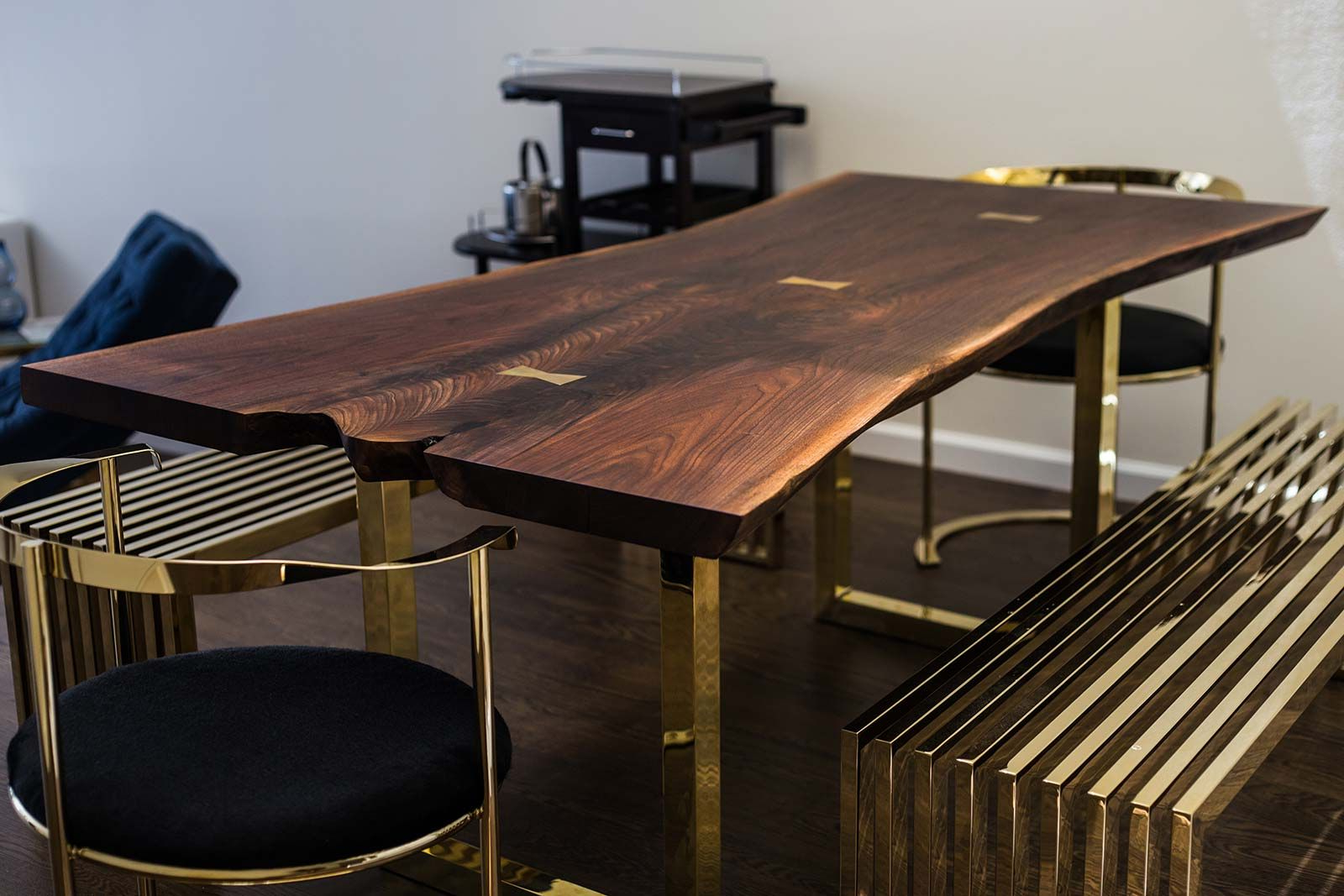 Well Known Acacia Dining Tables With Black Victor Legs Intended For Black Walnut Dining Table With Brass Bowties Live Edge Wood (View 16 of 30)
