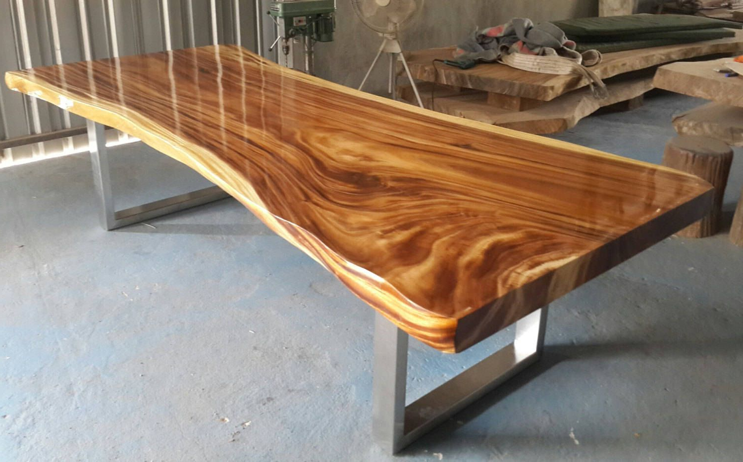 Well Known Acacia Dining Tables With Black X Leg Throughout Live Edge Dining Table Golden Acacia Wood Reclaimed Single (Gallery 18 of 30)