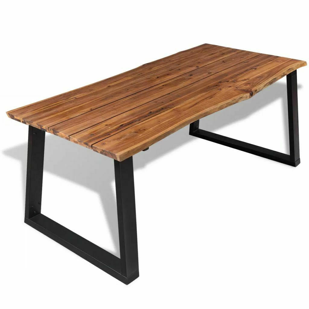 Well Known Acacia Top Dining Tables With Metal Legs With Details About Solid Acacia Wood Dining Table W/ An Oil Finish Top Metal Legs (View 4 of 30)