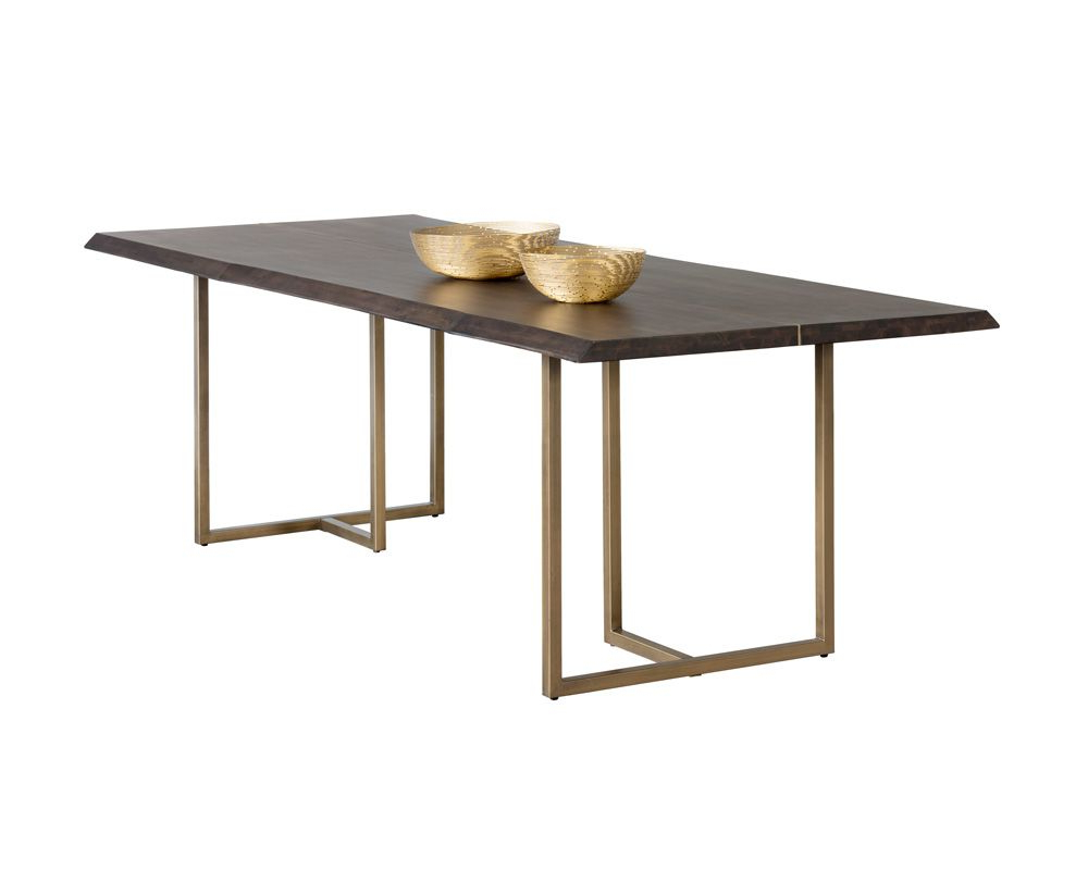 Well Known Acacia Wood Dining Tables With Sheet Metal Base Pertaining To Donnelly Dining Table – Antique Brass – Dark Mango (View 28 of 30)