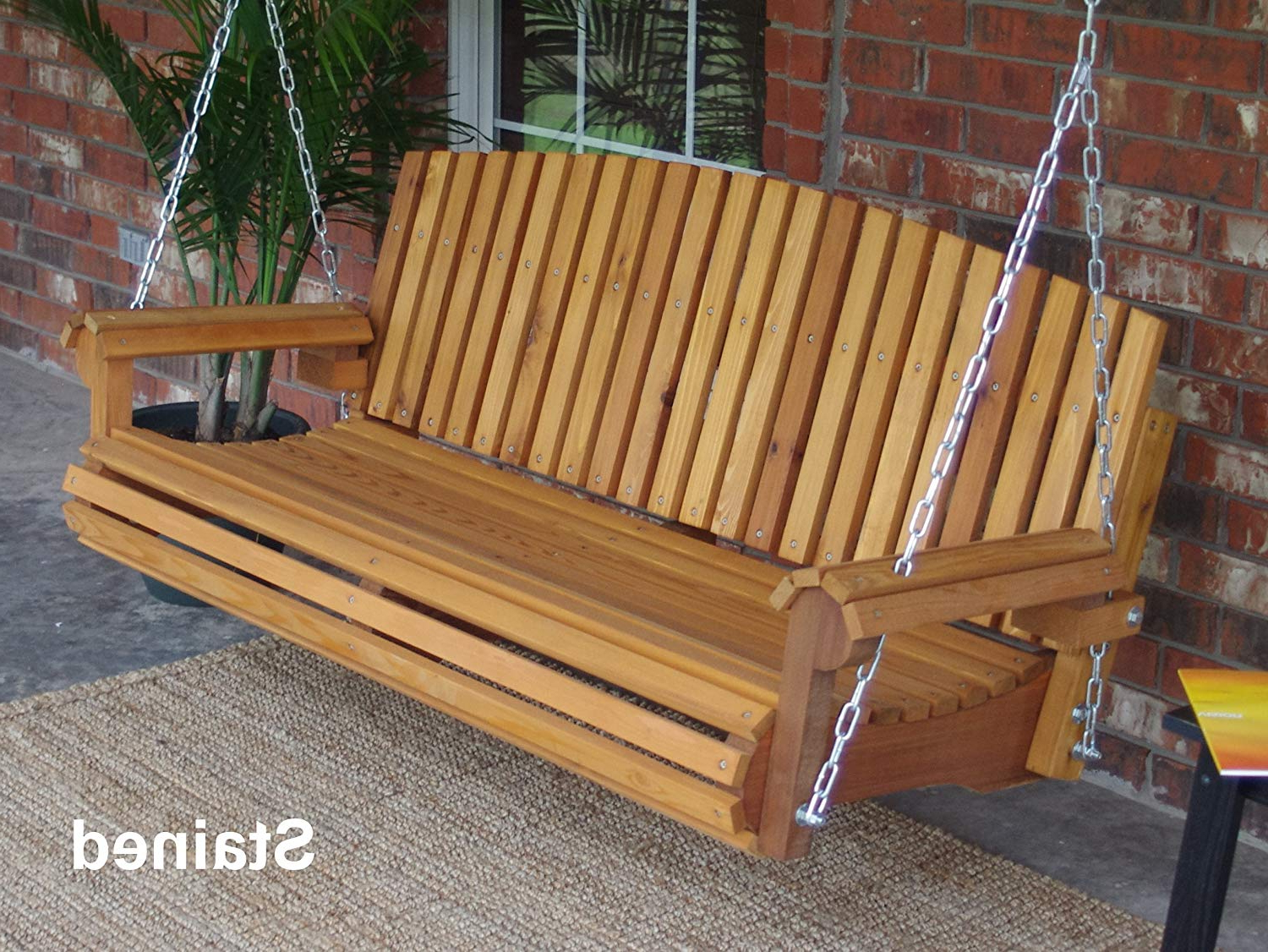 Well Known Amazon : Brand New Fan Back Cedar Porch Swing With Throughout 5 Ft Cedar Swings With Springs (View 3 of 30)