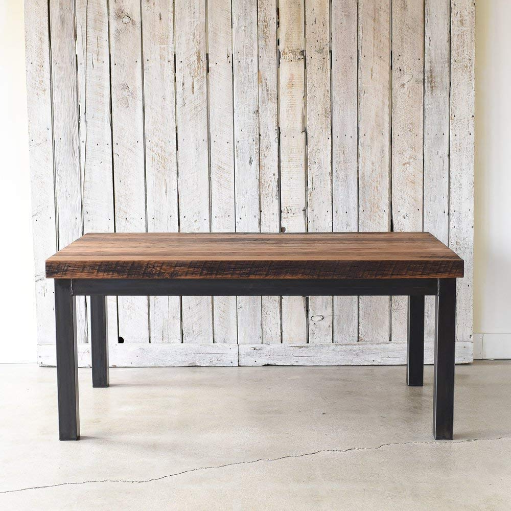 Well Known Amazon: Industrial Steel Frame Dining Table With 3 Inch Within Wood Top Dining Tables (Gallery 15 of 30)