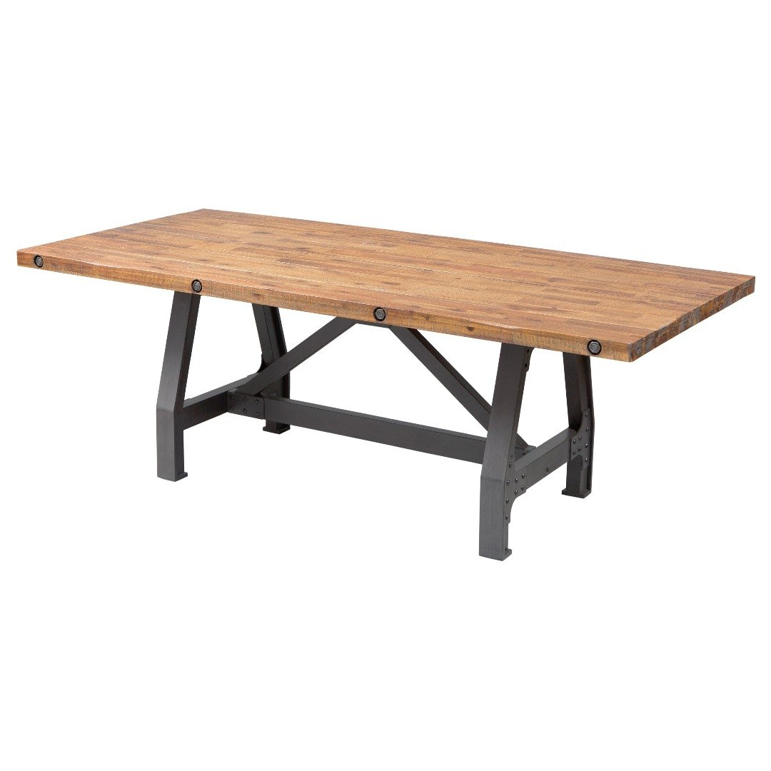 Well Known Amazon – Modhaus Living Industrial Rustic Distressed With Regard To Iron Wood Dining Tables With Metal Legs (View 11 of 30)