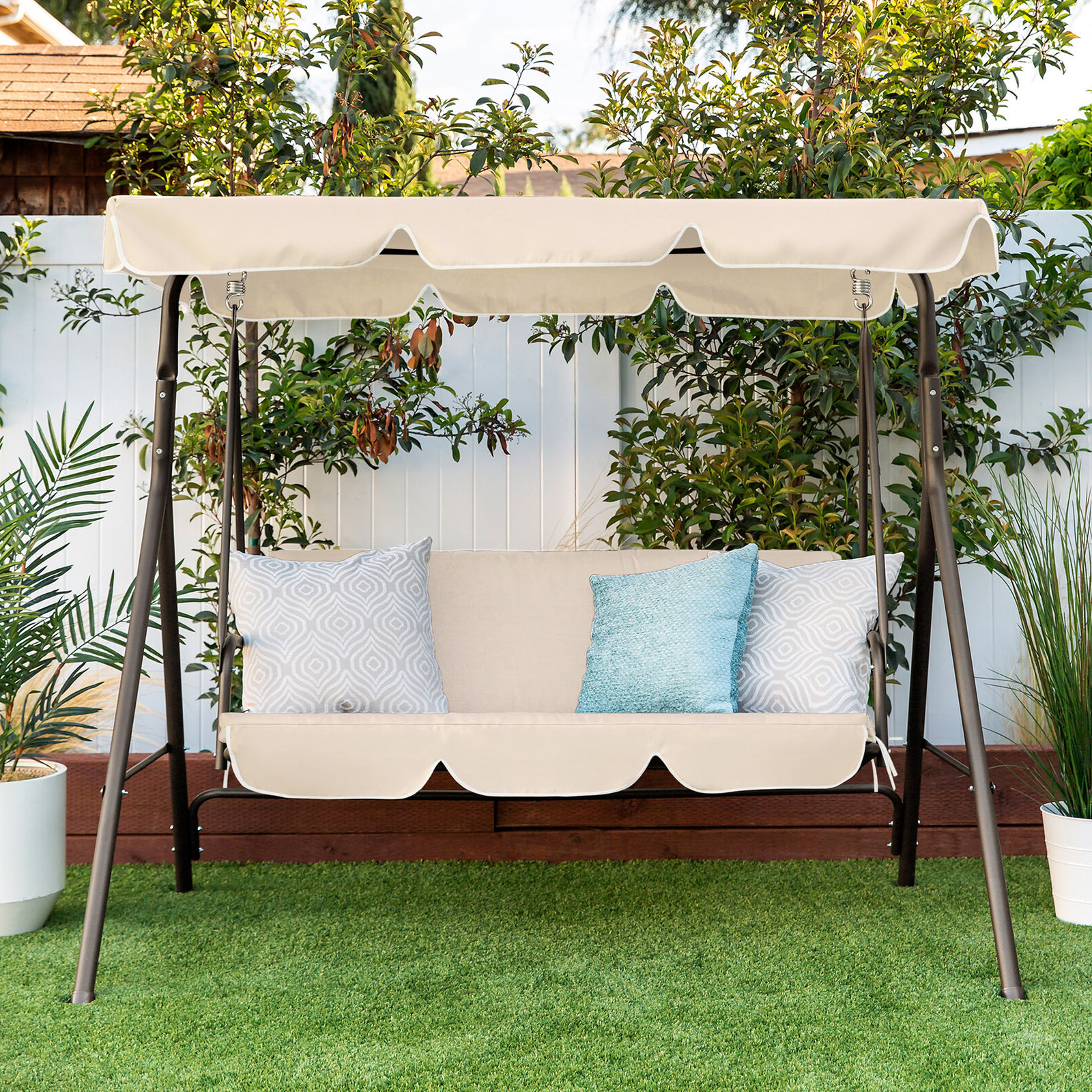 Well Known Best Choice Products Outdoor 2 Person Patio Canopy Swing – Burgundy Intended For 2 Person Outdoor Convertible Canopy Swing Gliders With Removable Cushions Beige (View 4 of 30)