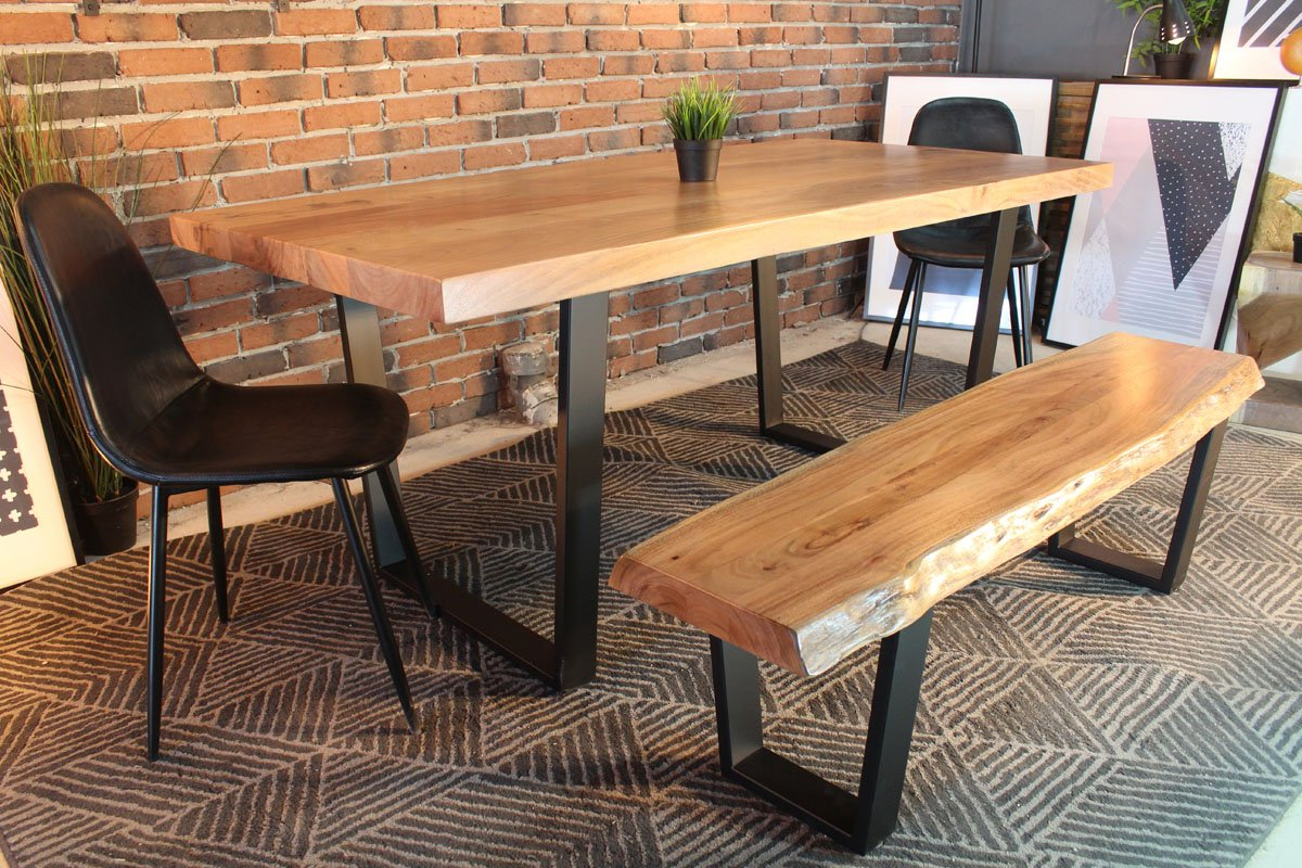 Well Known Brilliant Acacium Wood Furniture Solid Dining Table Best Buy Within Dining Tables With Black U Legs (View 30 of 30)
