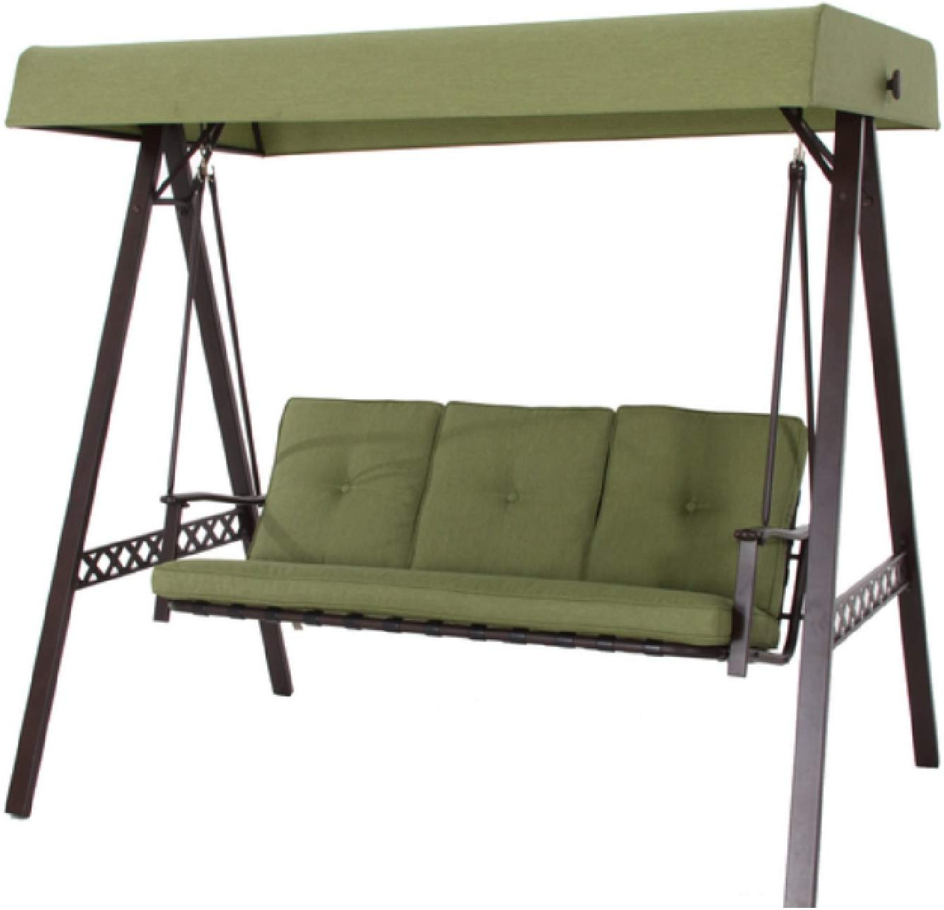 Well Known Canopy Patio Porch Swings With Pillows And Cup Holders Inside Amazon : New Outdoor 3 Triple Seater Swing Glider Canopy (Gallery 3 of 30)