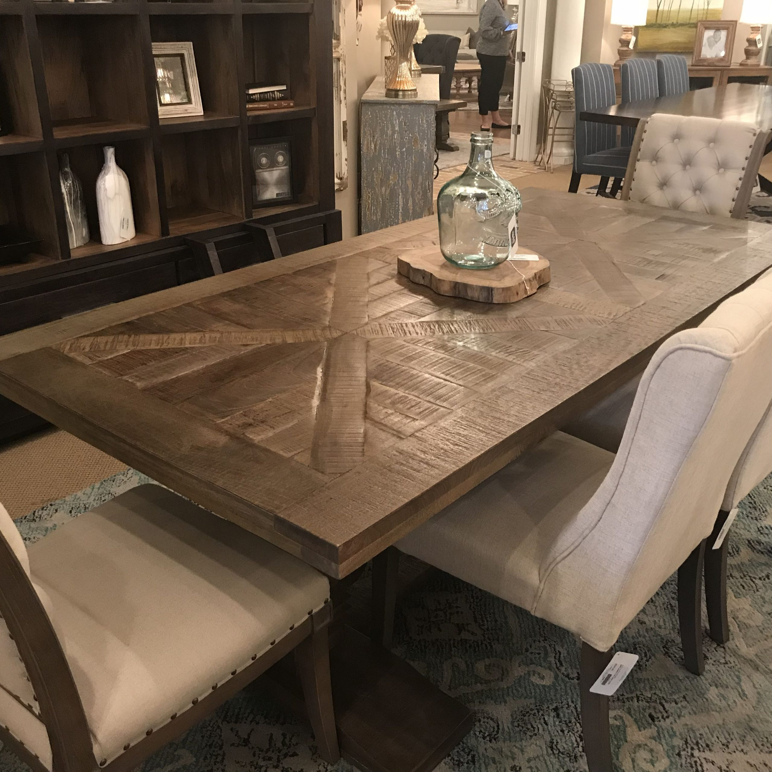 "Well Known Charleston 84"" Parquet Top Dining Table – Brown Wash With Transitional Driftwood Casual Dining Tables (View 25 of 30)"