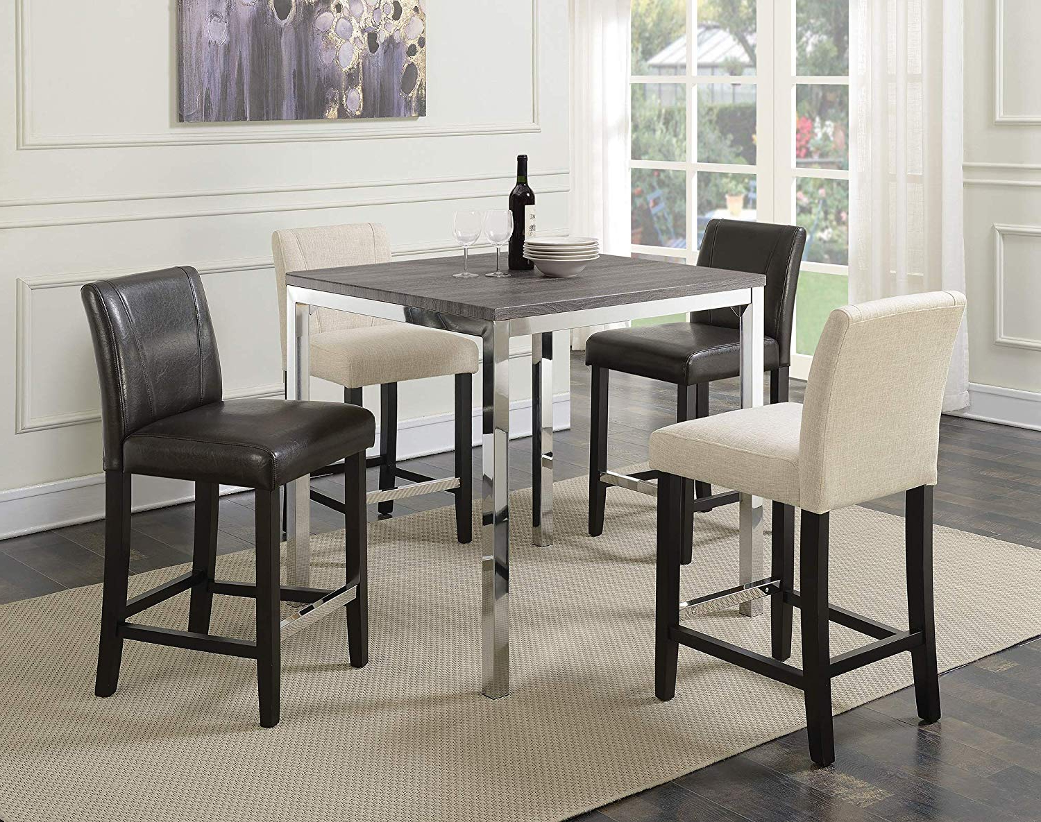 Well Known Chrome Contemporary Square Casual Dining Tables Pertaining To Amazon – Benjara Benzara Bm168112 Square Counter Height (Gallery 3 of 30)