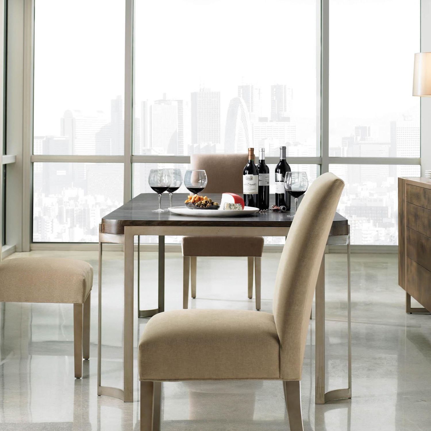 Well Known Contemporary Dining Table / Oak / Lacquered Metal Base / Rectangular Modern Artisans Caracole For Fumed Oak Dining Tables (View 21 of 30)