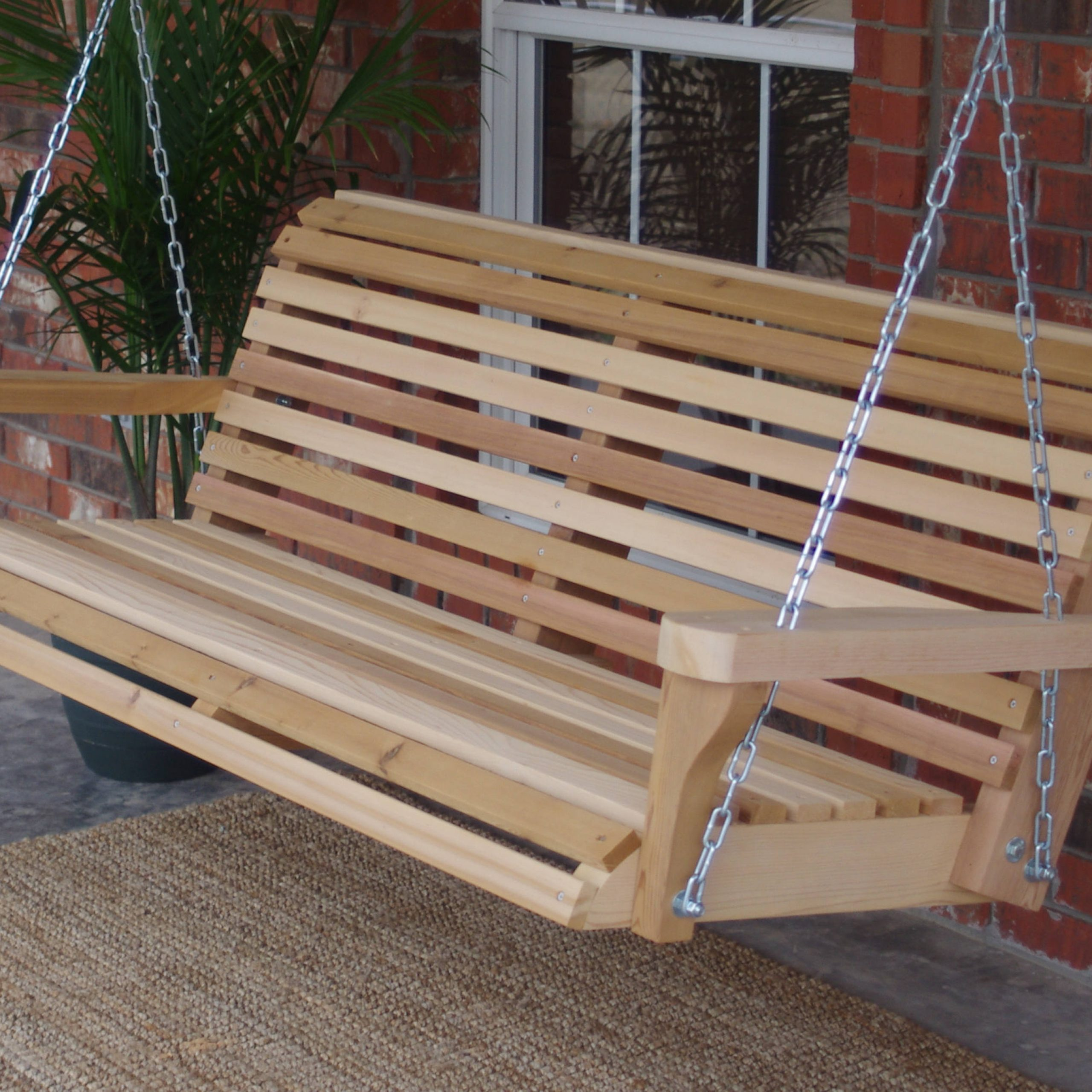 Well Known Contoured Classic Porch Swings For Brand New 6 Foot Cedar Wood Classic Porch Swing With Hanging Chain – Free  Shipping (Gallery 18 of 30)
