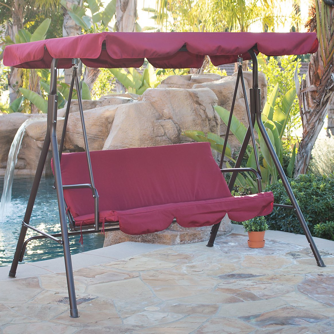 Well Known Details About 3 Person Steel Outdoor Patio Porch Swing Chair With Stand And  Canopy Rocker Throughout Canopy Porch Swings (Gallery 7 of 30)