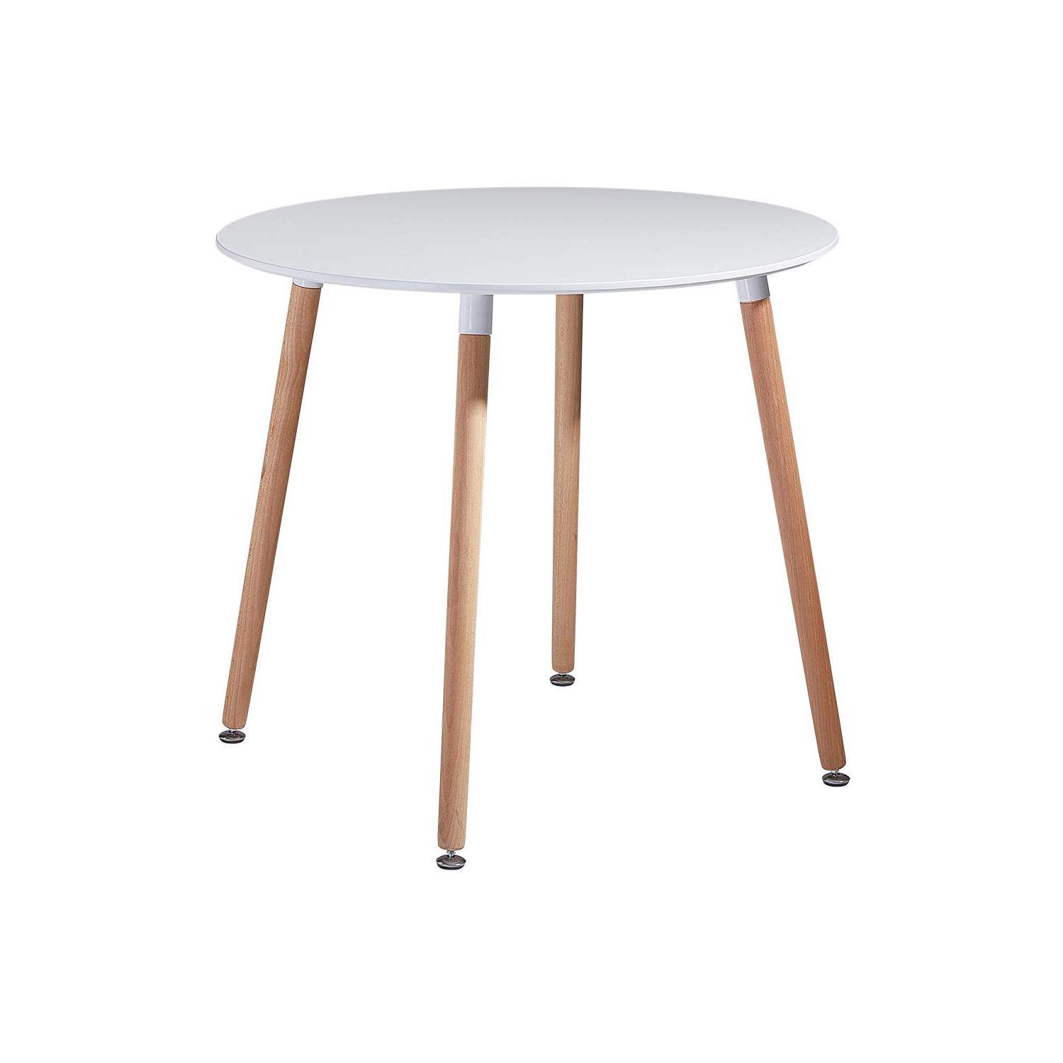 Well Known Details About 80cm White Round Dining Table With 4 Solid Beech Wood Legs Retro Kitchen Table Inside Solid Wood Circular Dining Tables White (View 22 of 30)