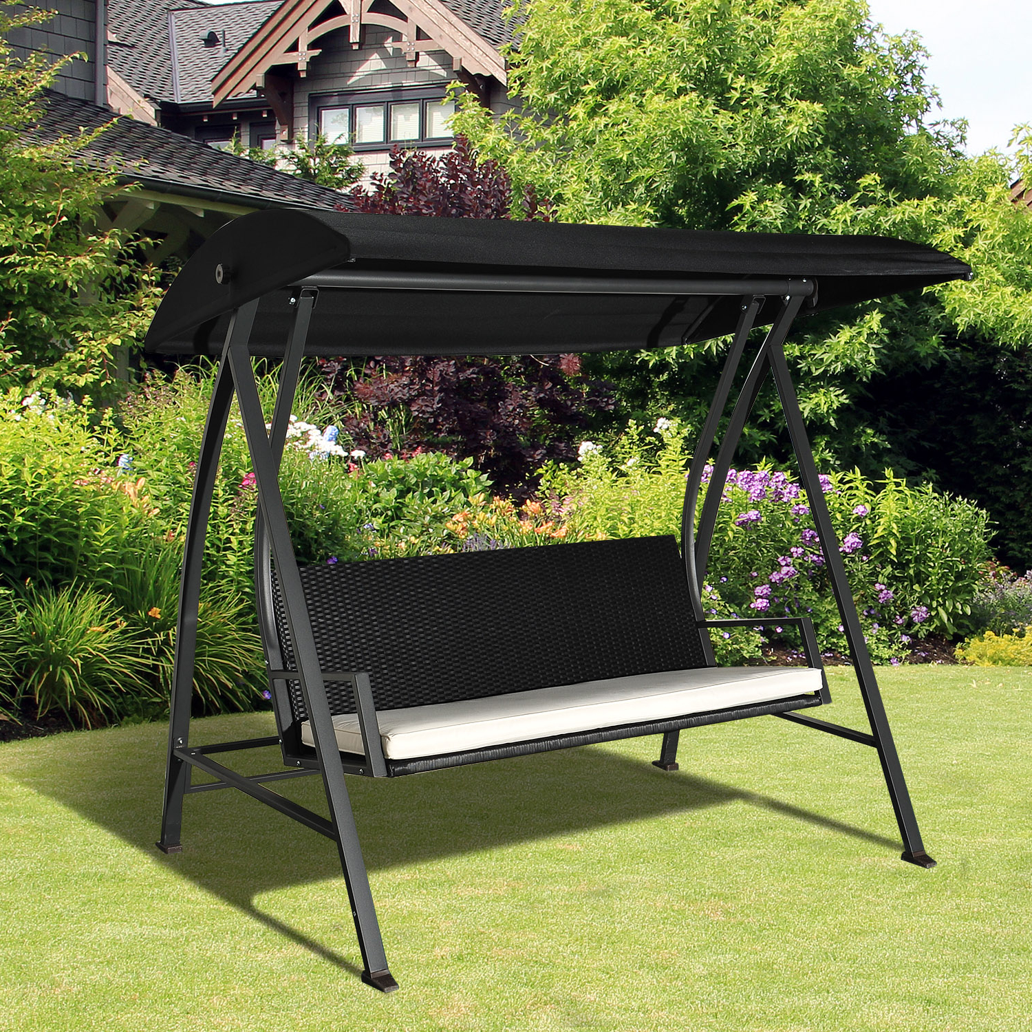 Well Known Details About Outsunny Outdoor Garden Rattan Swing Chair Swinging Hammock 3  Seater Bench Within Rattan Garden Swing Chairs (Gallery 22 of 31)