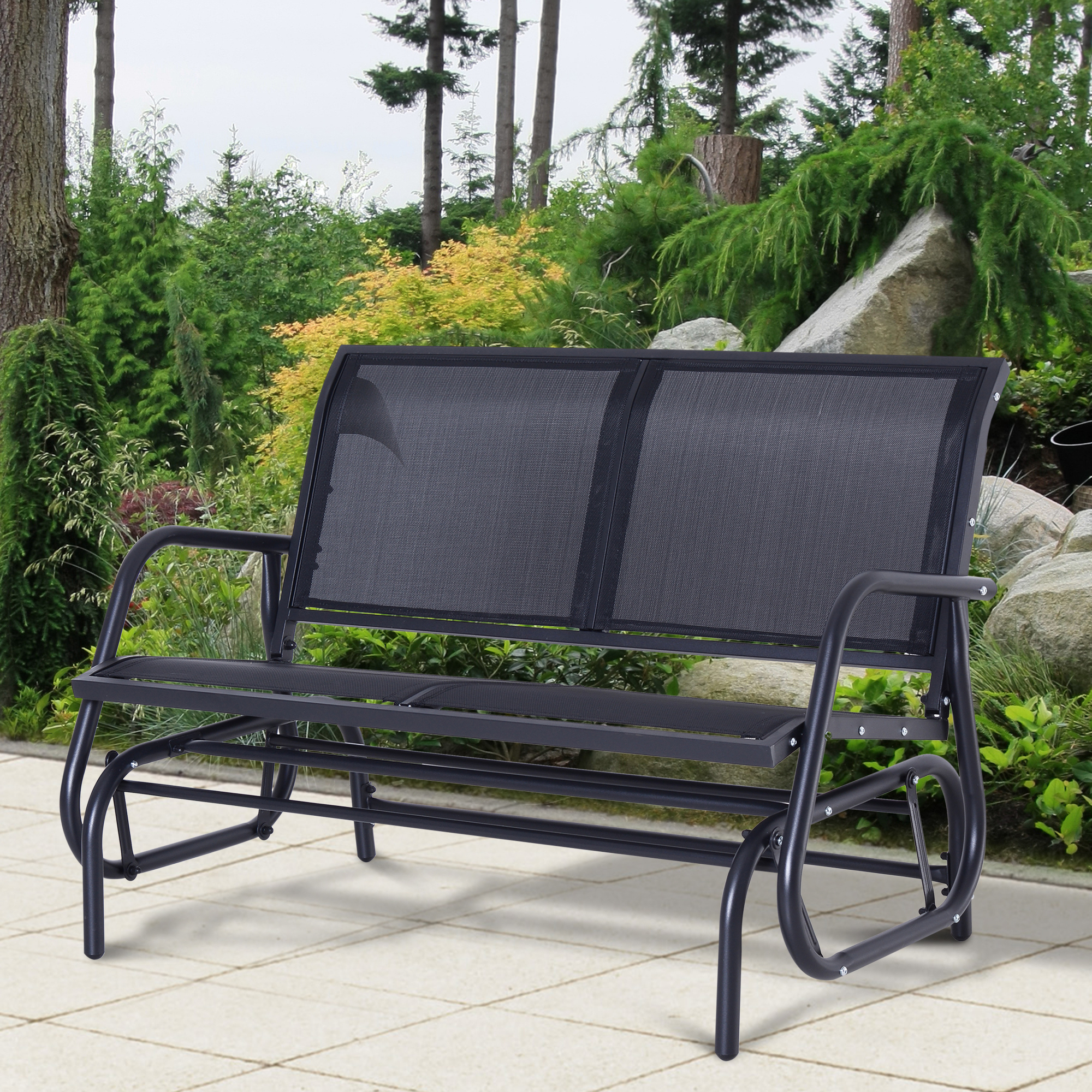 Well Known Details About Outsunny Patio Garden Glider Bench 2 Person Double Swing  Chair Rocker Deck Black Pertaining To Black Outdoor Durable Steel Frame Patio Swing Glider Bench Chairs (View 29 of 30)