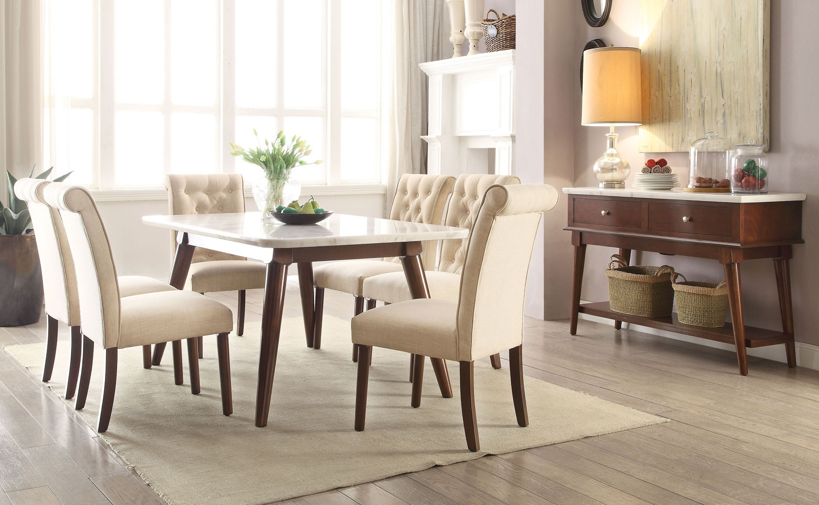 Well Known Dining Tables With White Marble Top In 72820 Acme Dining Table Gasha Collection White Marble Top Walnut Finish (View 15 of 30)