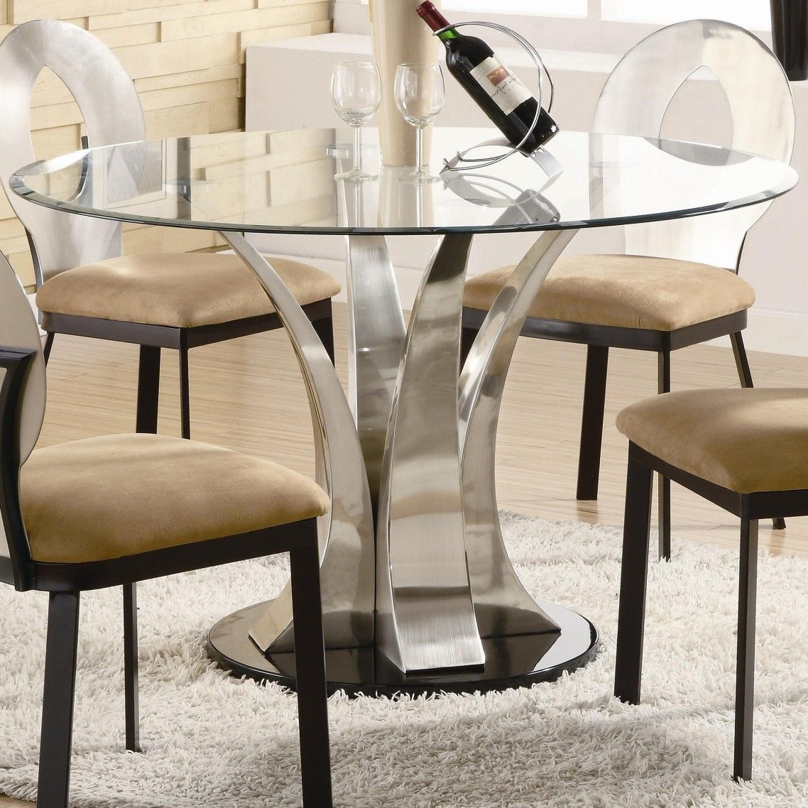 Well Known Eames Style Dining Tables With Chromed Leg And Tempered Glass Top For Awesome Modern Glass Top Dining Table With Chrome Metal (View 27 of 30)
