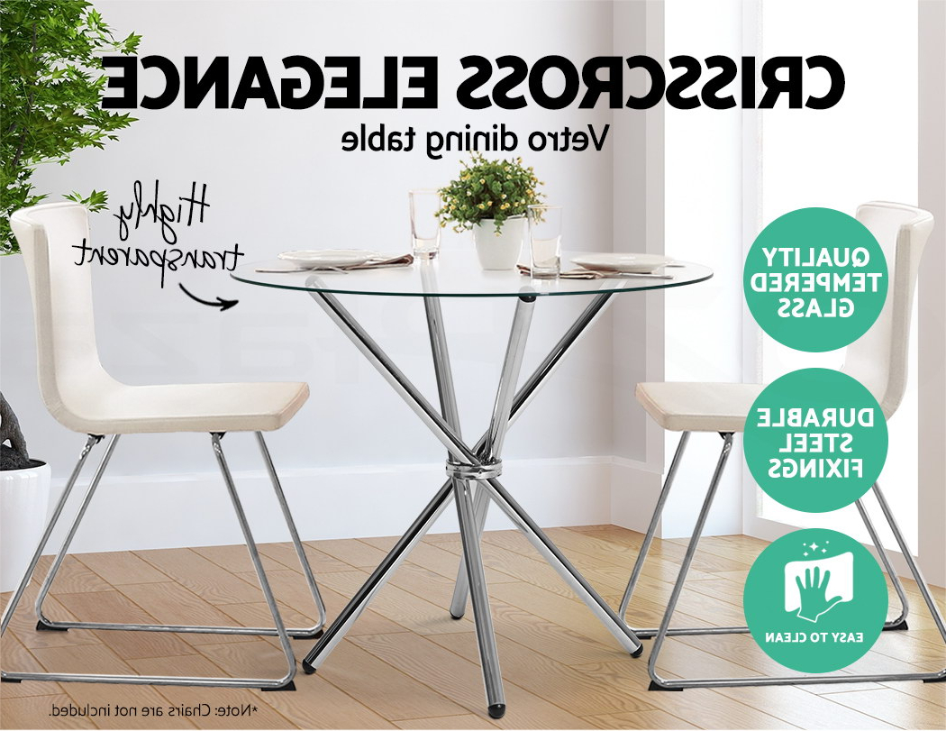 Well Known Eames Style Dining Tables With Chromed Leg And Tempered Glass Top With Details About Artiss Vetro Round Dining Table Tempered Glass 4 Seater  Chrome Steel Legs Cross (Gallery 15 of 30)