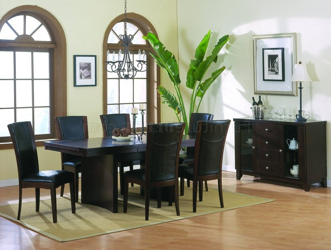 Well Known Espresso Finish Wood Classic Design Dining Tables Regarding Espresso Finish Modern Dining Table W/optional Items (View 28 of 30)
