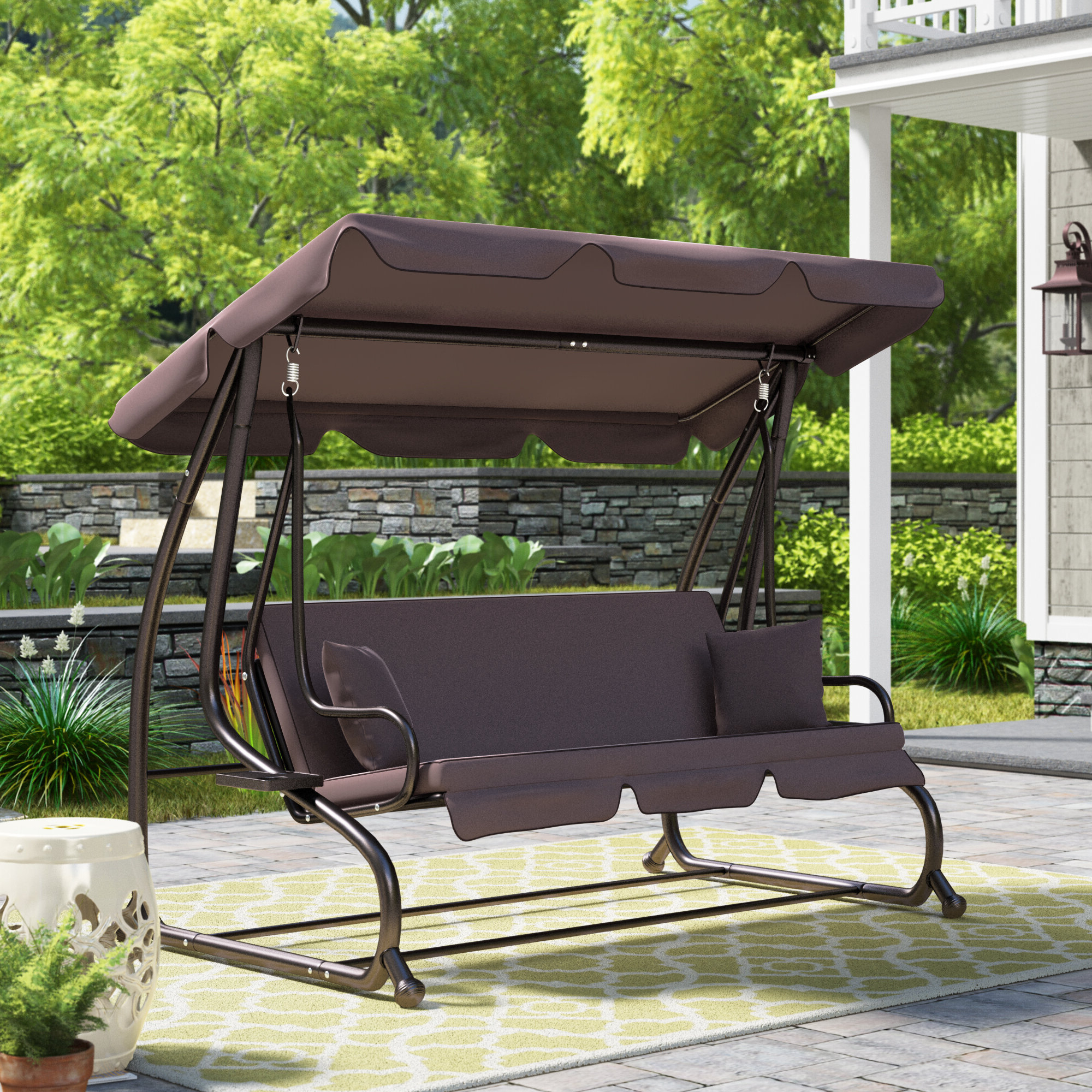 Well Known Fleur De Lis Living Mossley Canopy Porch Swing With Stand Regarding 2 Person Adjustable Tilt Canopy Patio Loveseat Porch Swings (Gallery 28 of 30)
