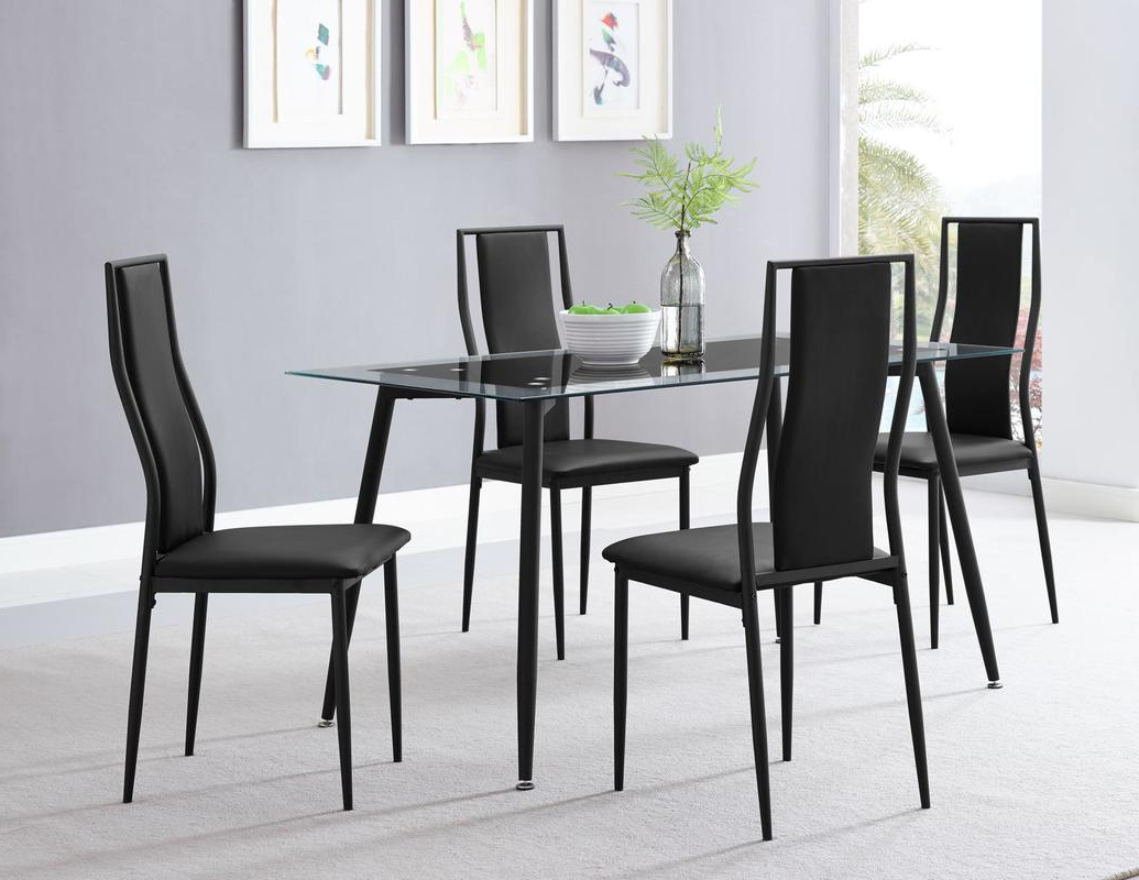 Well Known Frosted Glass Modern Dining Tables With Grey Finish Metal Tapered Legs Throughout Dinette Sets – Sm Furniture (View 6 of 30)