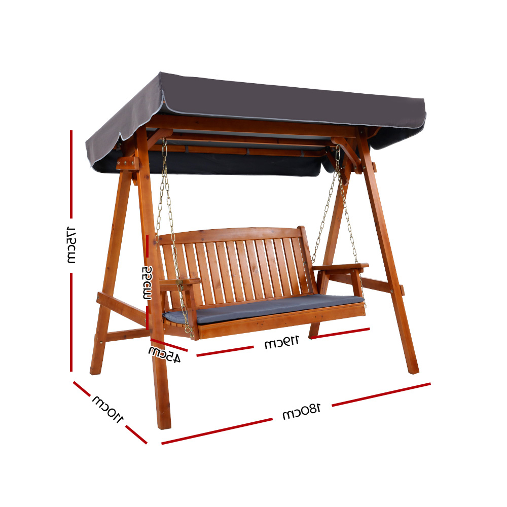 Well Known Gardeon Wooden Swing Chair Garden Bench Canopy 3 Seater Throughout 3 Seat Pergola Swings (View 23 of 30)