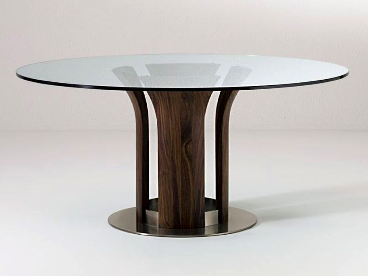 Well Known Glass Top Dining Room Sets Round Table Modern With Wooden In Modern Round Glass Top Dining Tables (View 15 of 30)