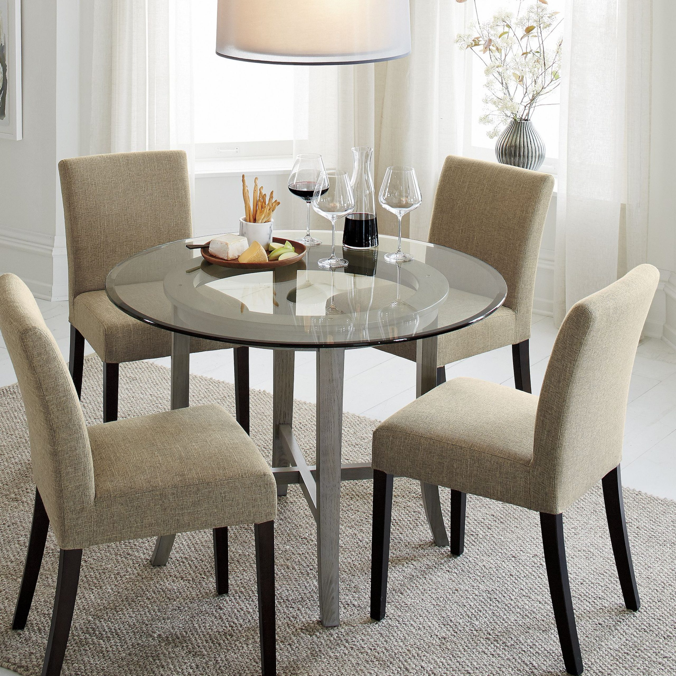"""Well Known Halo Grey Round Dining Table With 42"""" Glass Top + Reviews For Round Dining Tables With Glass Top (View 24 of 30)"""